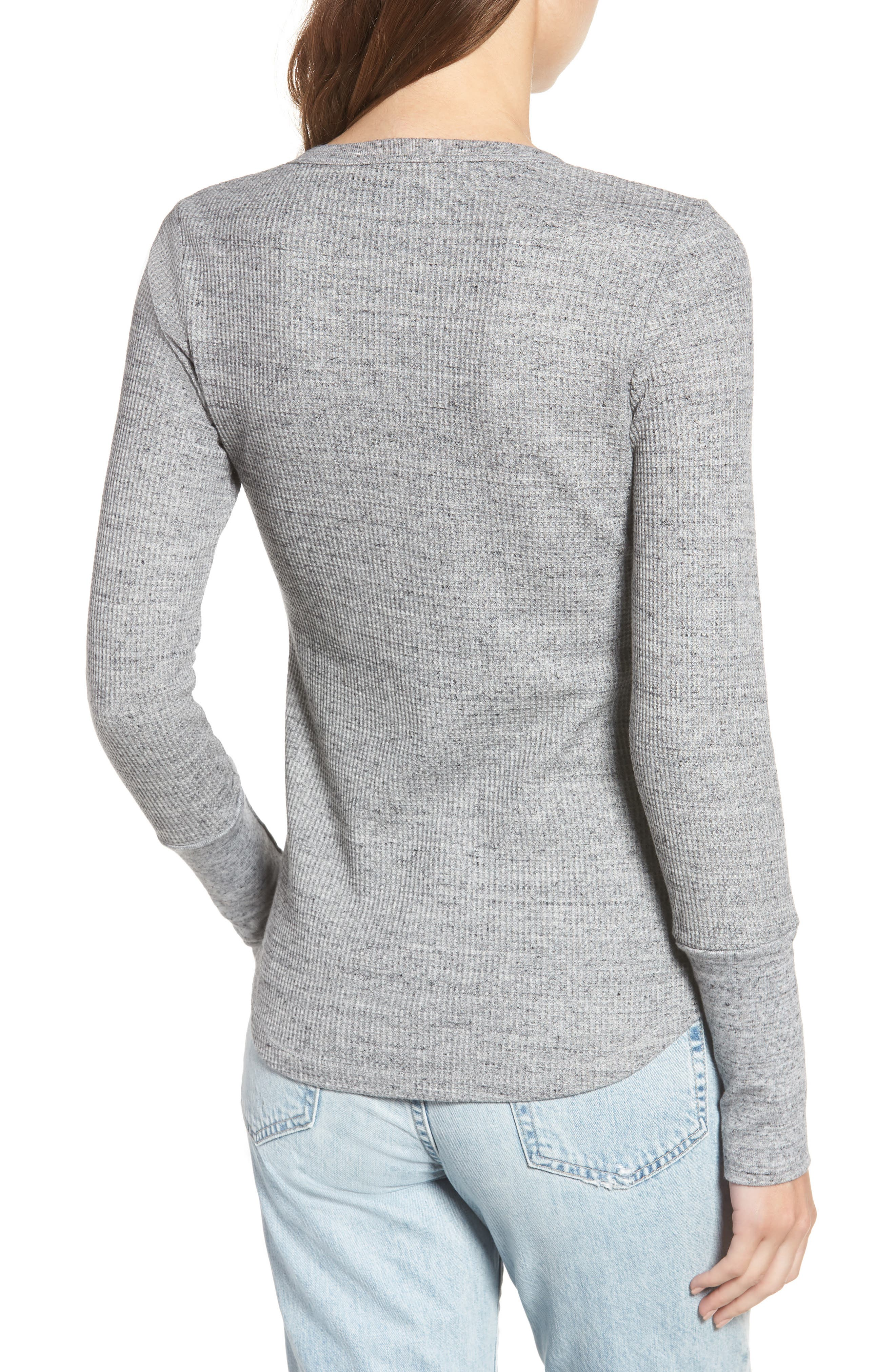 Thermal Henley Tee,                             Alternate thumbnail 2, color,                             HEATHER GREY