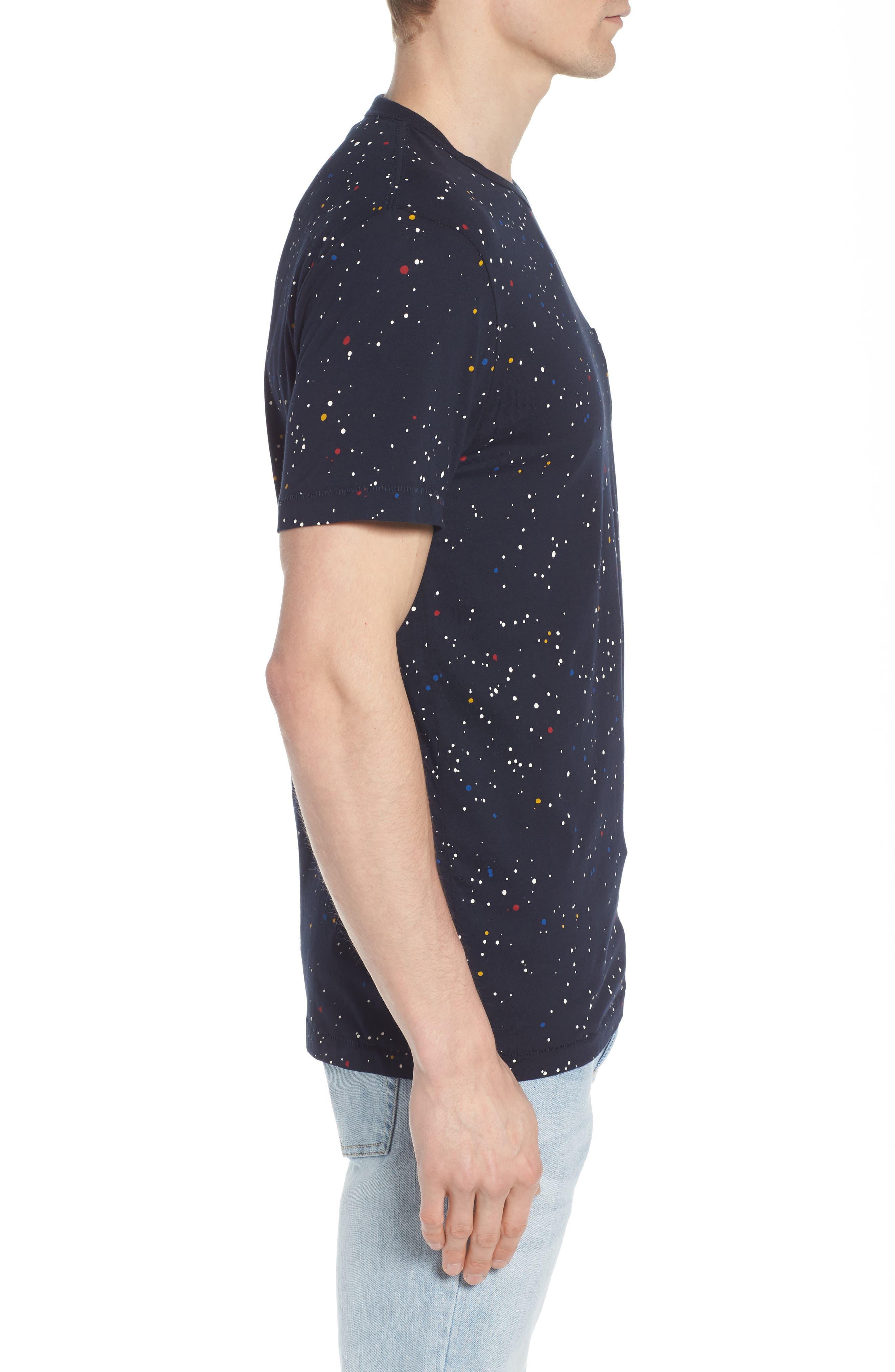 Star Splatter Crewneck T-Shirt,                             Alternate thumbnail 3, color,                             MARINE BLUE