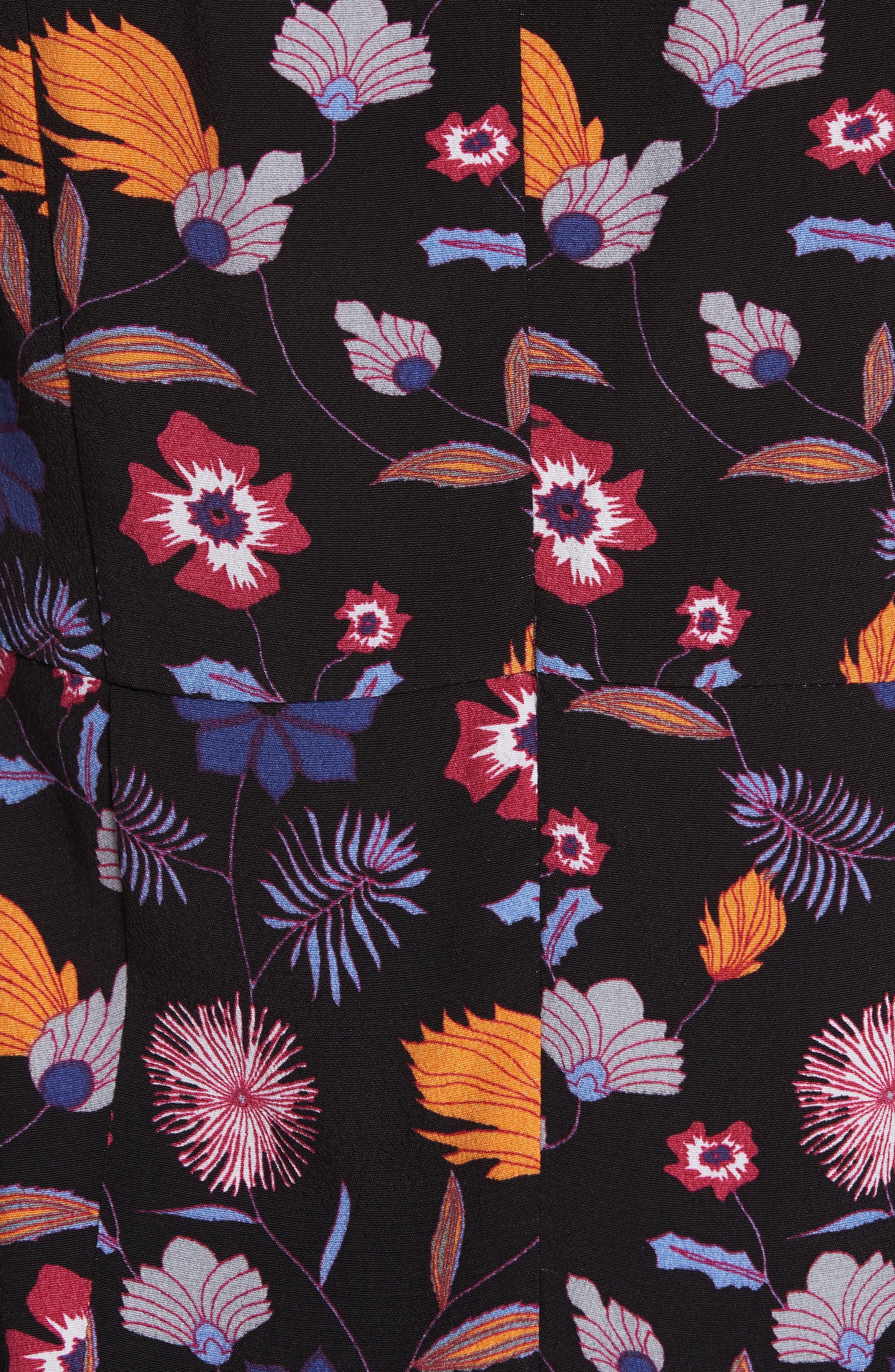 Maha High Neck Botanical Mini Dress,                             Alternate thumbnail 5, color,                             001