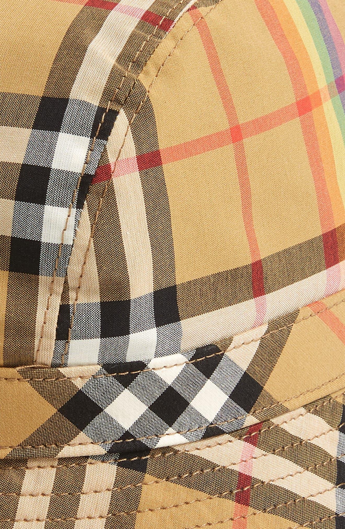 Rainbow Stripe Vintage Check Bucket Hat,                             Alternate thumbnail 5, color,                             ANTIQUE YELLOW/ RAINBOW