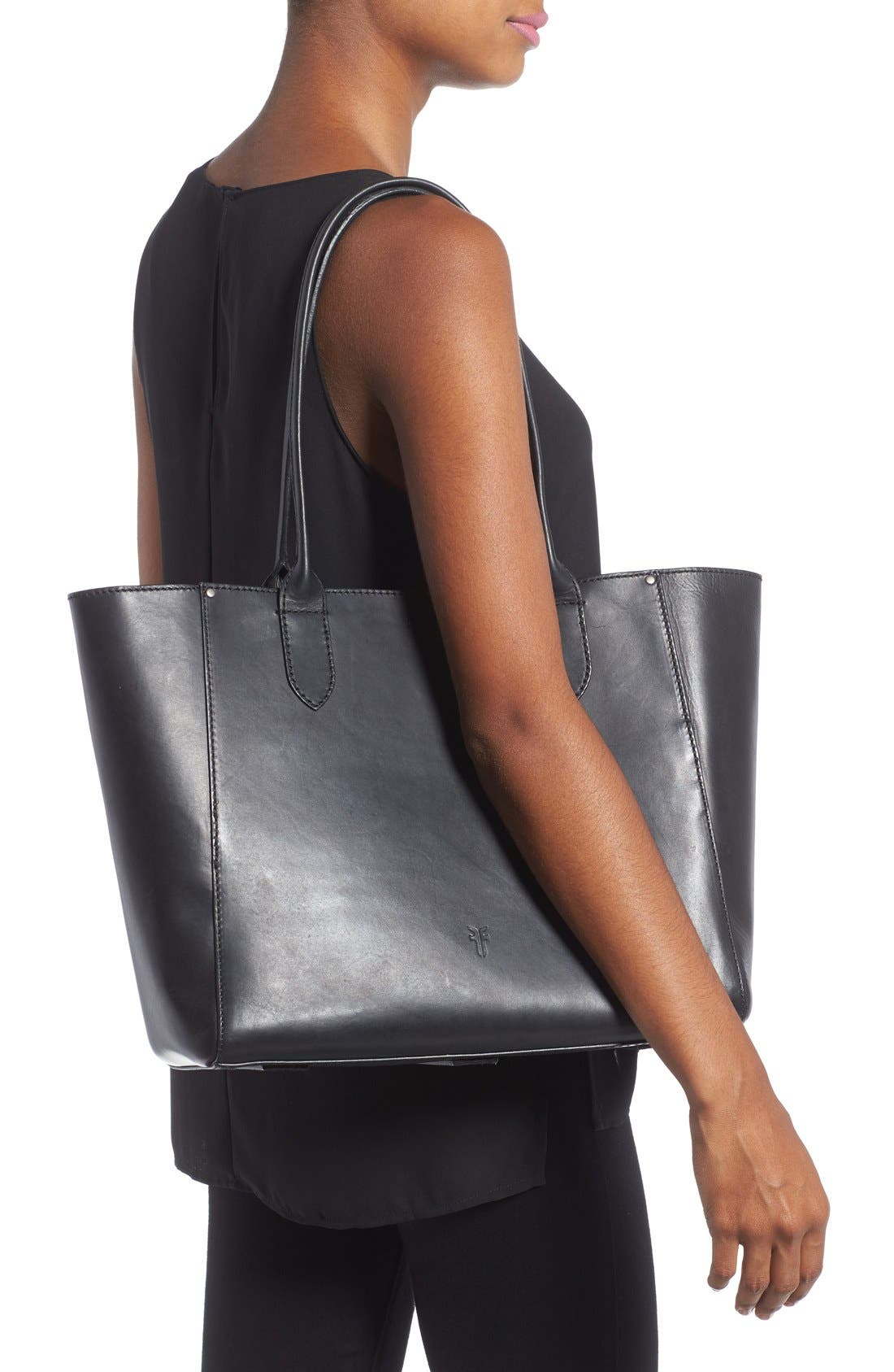 FRYE,                             'Casey' Leather Tote,                             Alternate thumbnail 2, color,                             001