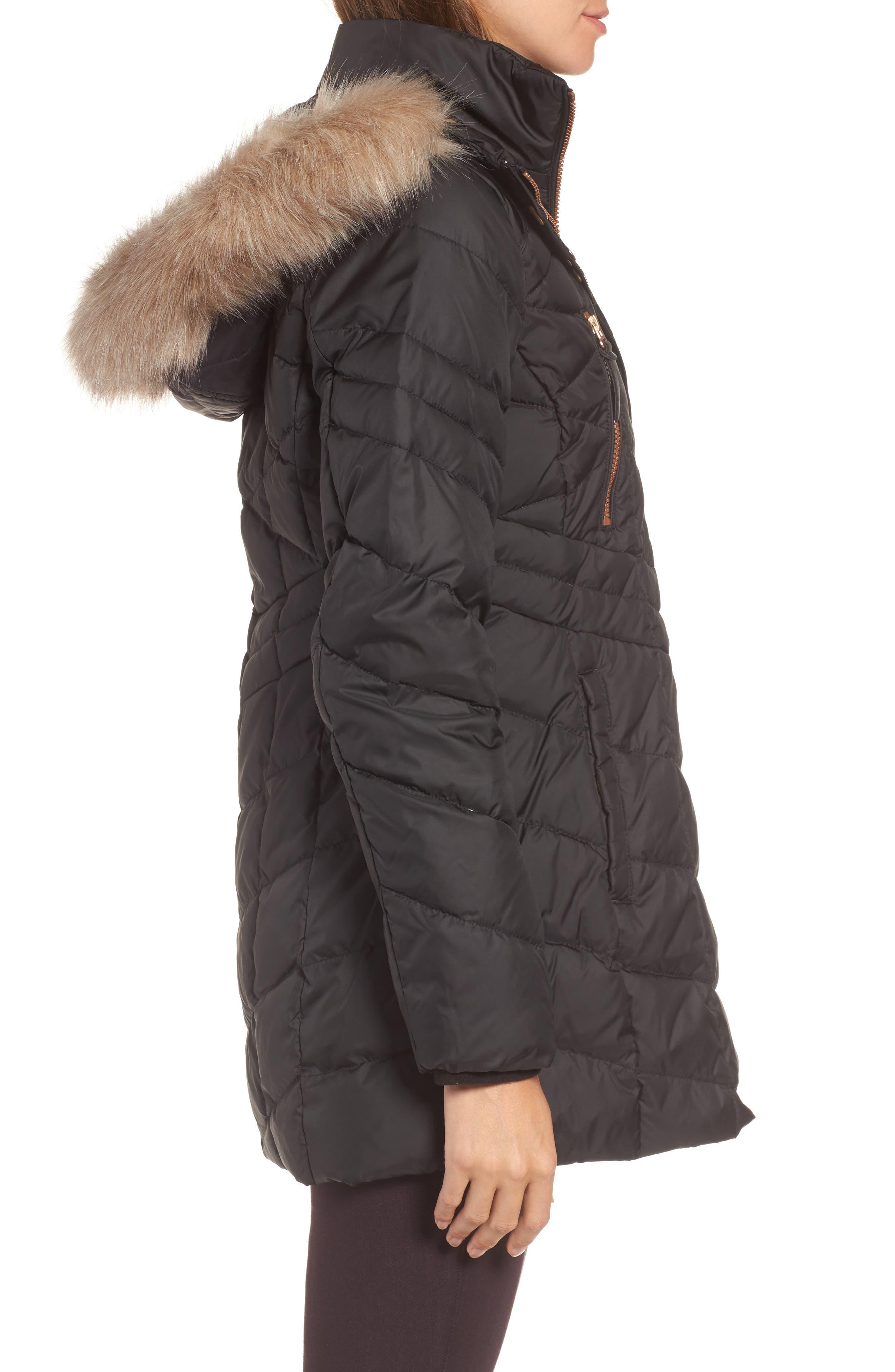 Marley 30 Coat with Detachable Faux Fur,                             Alternate thumbnail 3, color,                             001