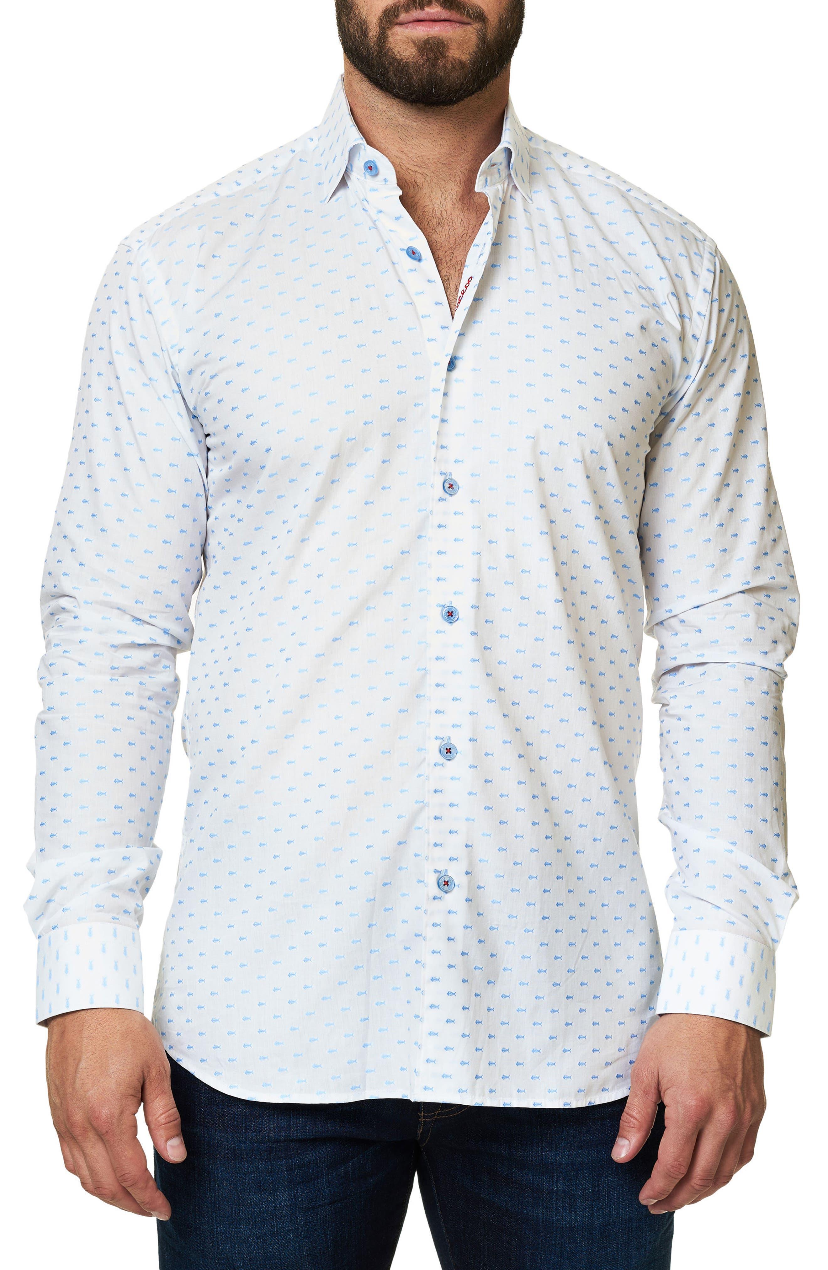 Trim Fit Fish Print Sport Shirt,                         Main,                         color, 114