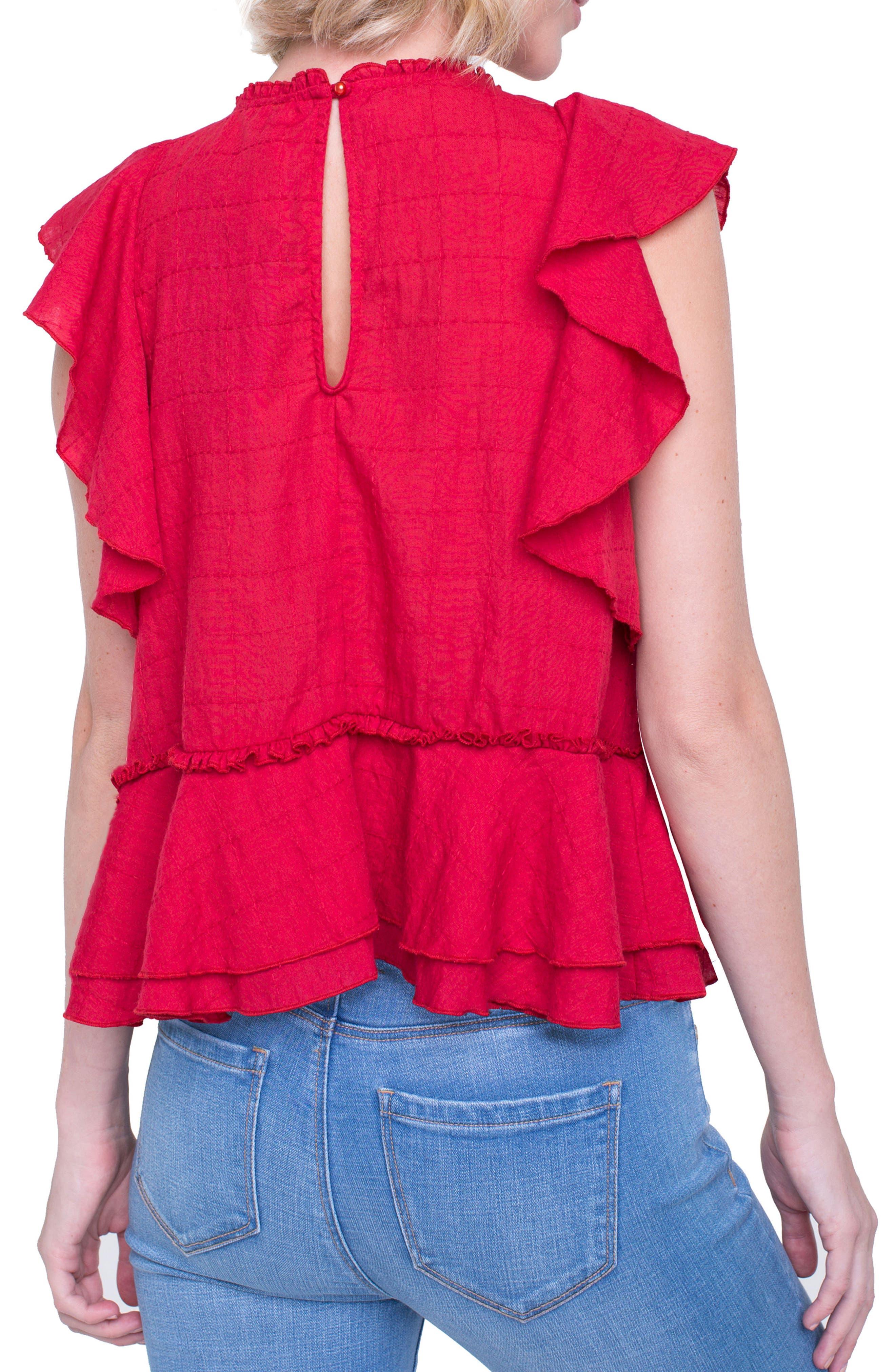 Ruffle Cotton Blend Top,                             Alternate thumbnail 4, color,
