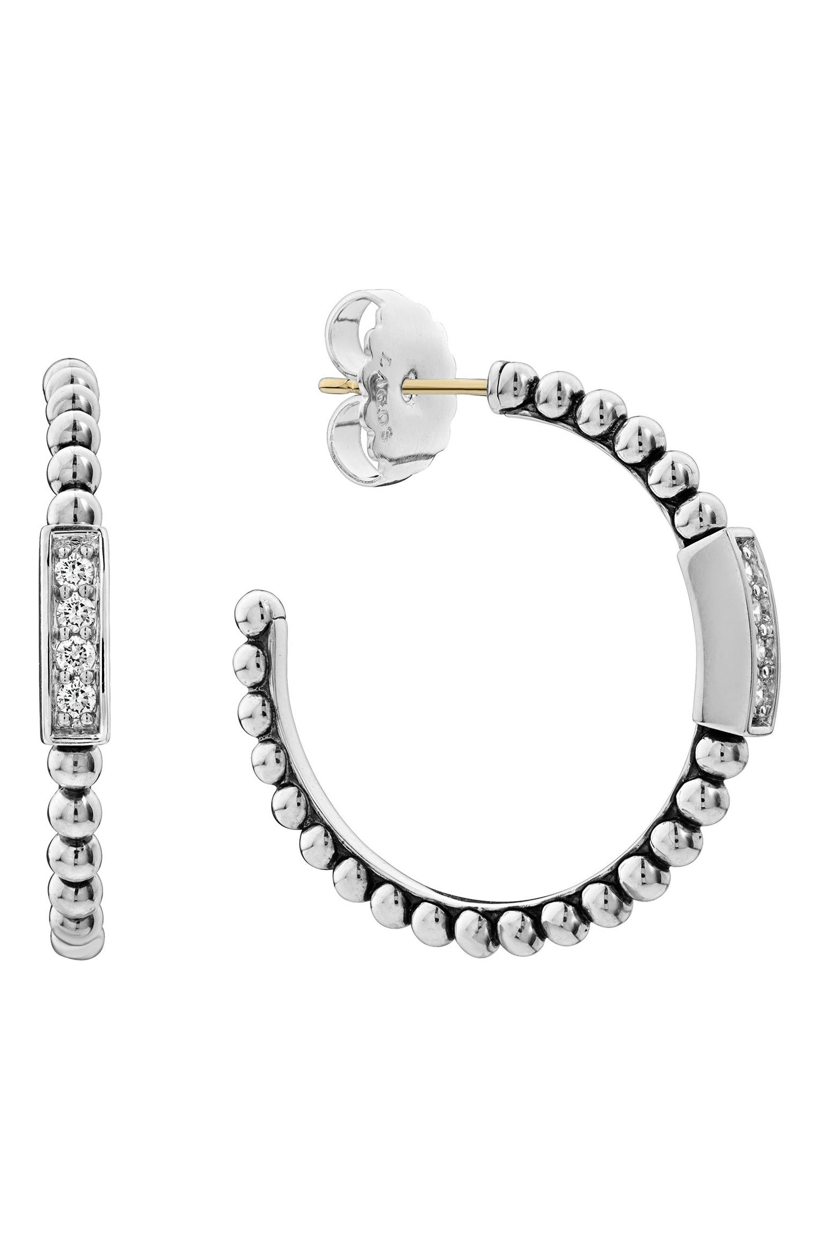 Caviar Spark Diamond Hoop Earrings,                             Alternate thumbnail 6, color,                             SILVER/ DIAMOND
