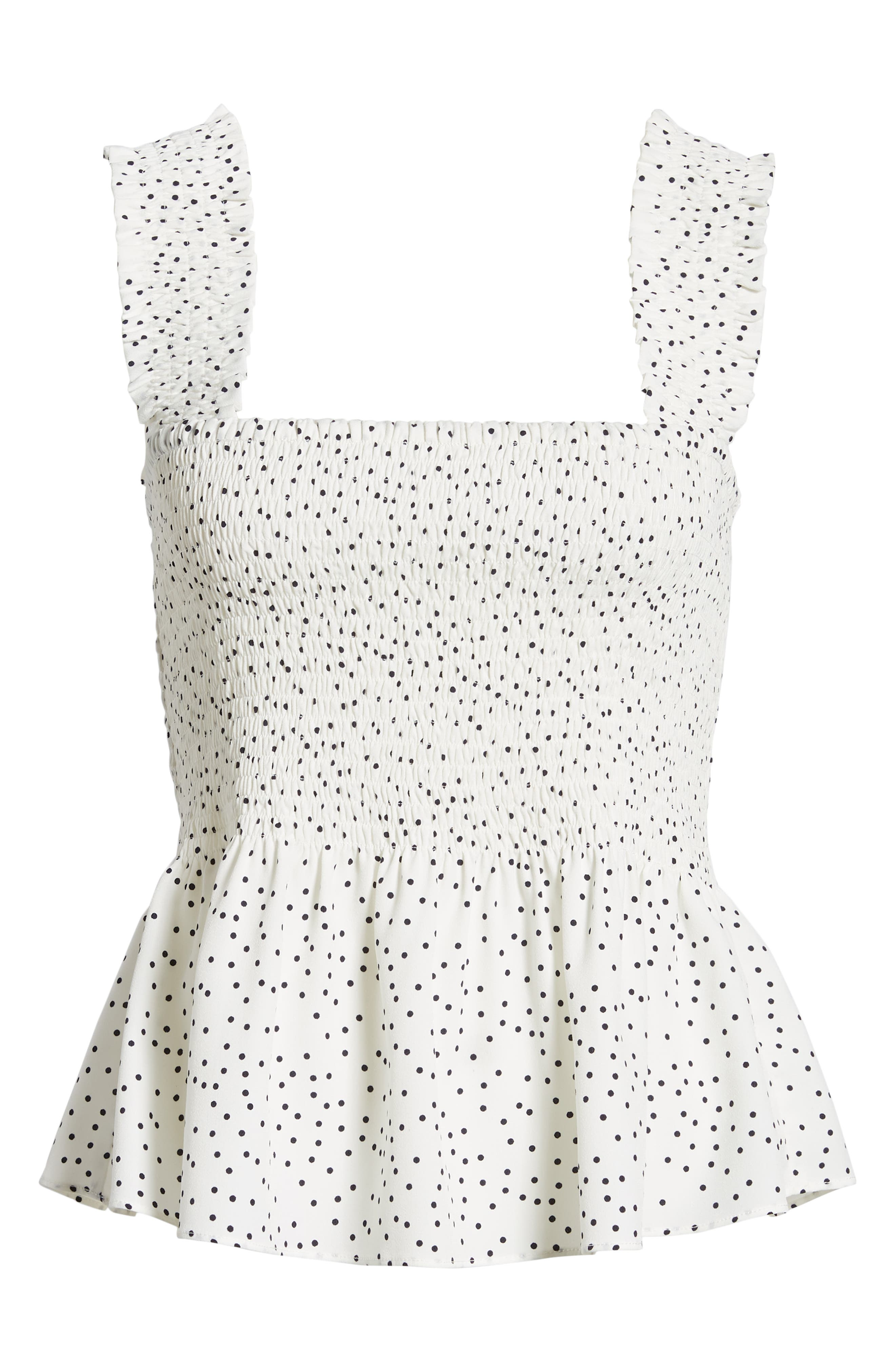 Polka Dot Smocked Top,                             Alternate thumbnail 6, color,                             001