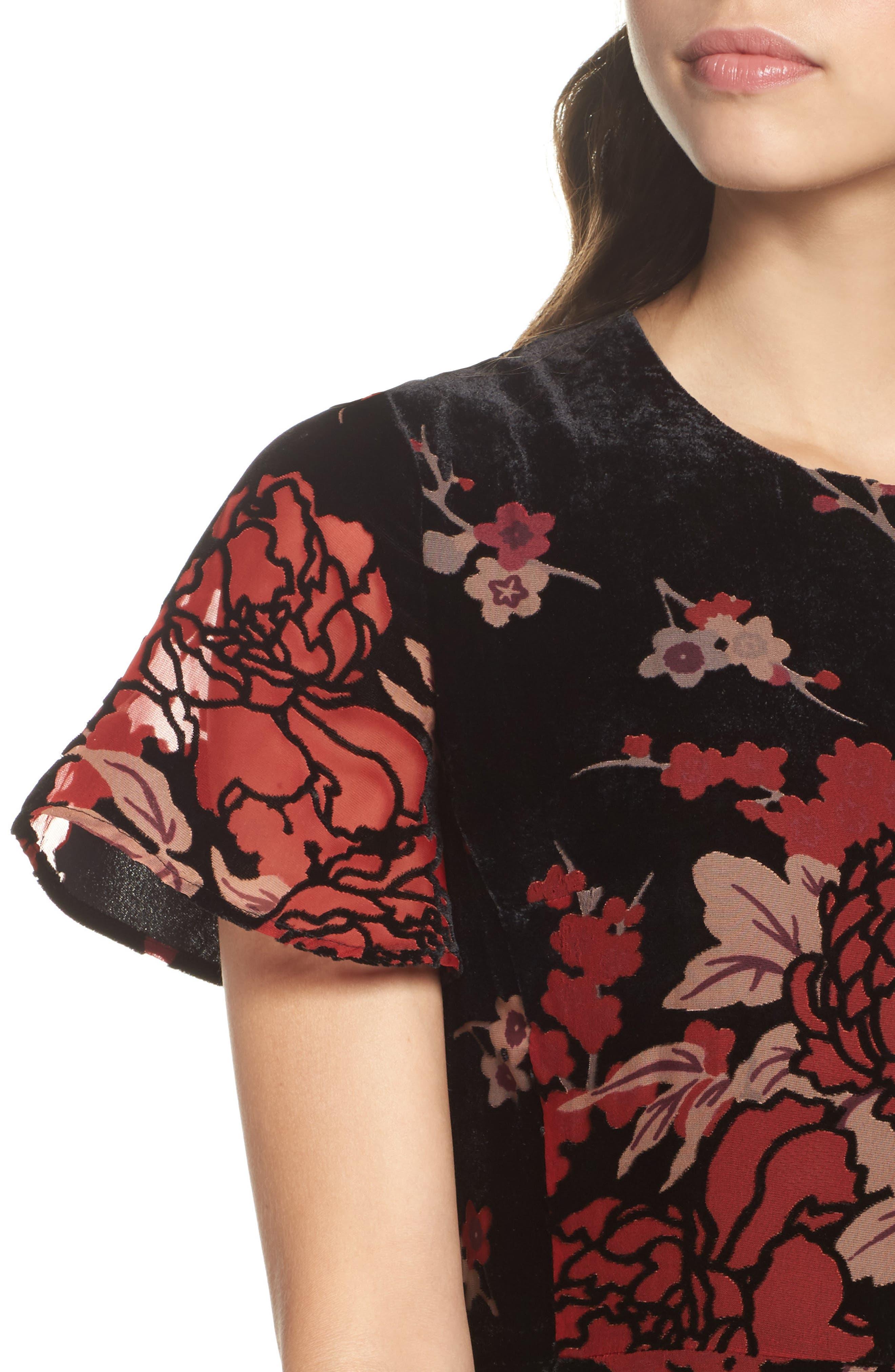 Wilma Devore Burnout Velvet A-Line Dress,                             Alternate thumbnail 4, color,                             017