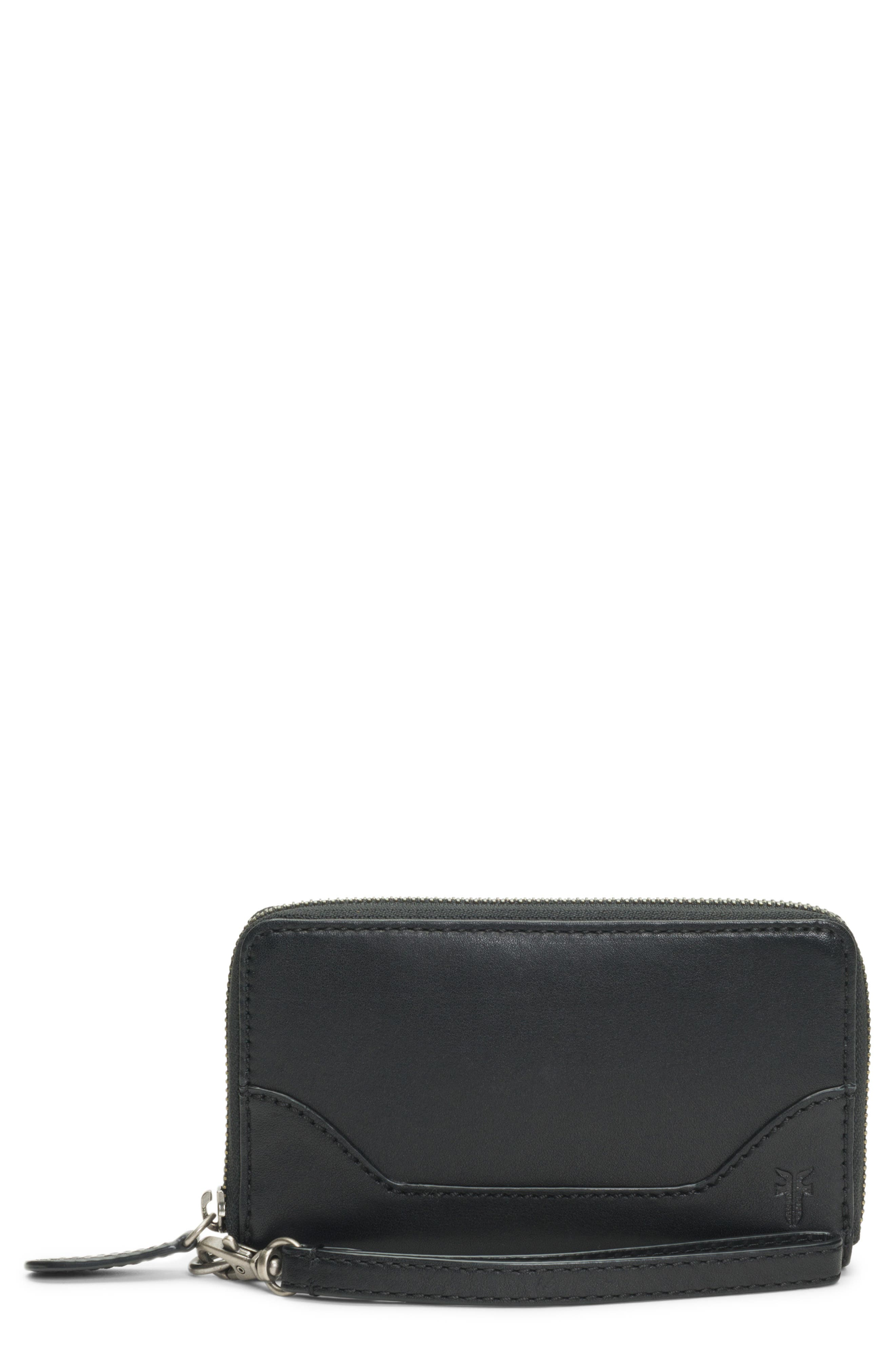 Melissa Leather Phone Wallet,                             Alternate thumbnail 4, color,                             BLACK