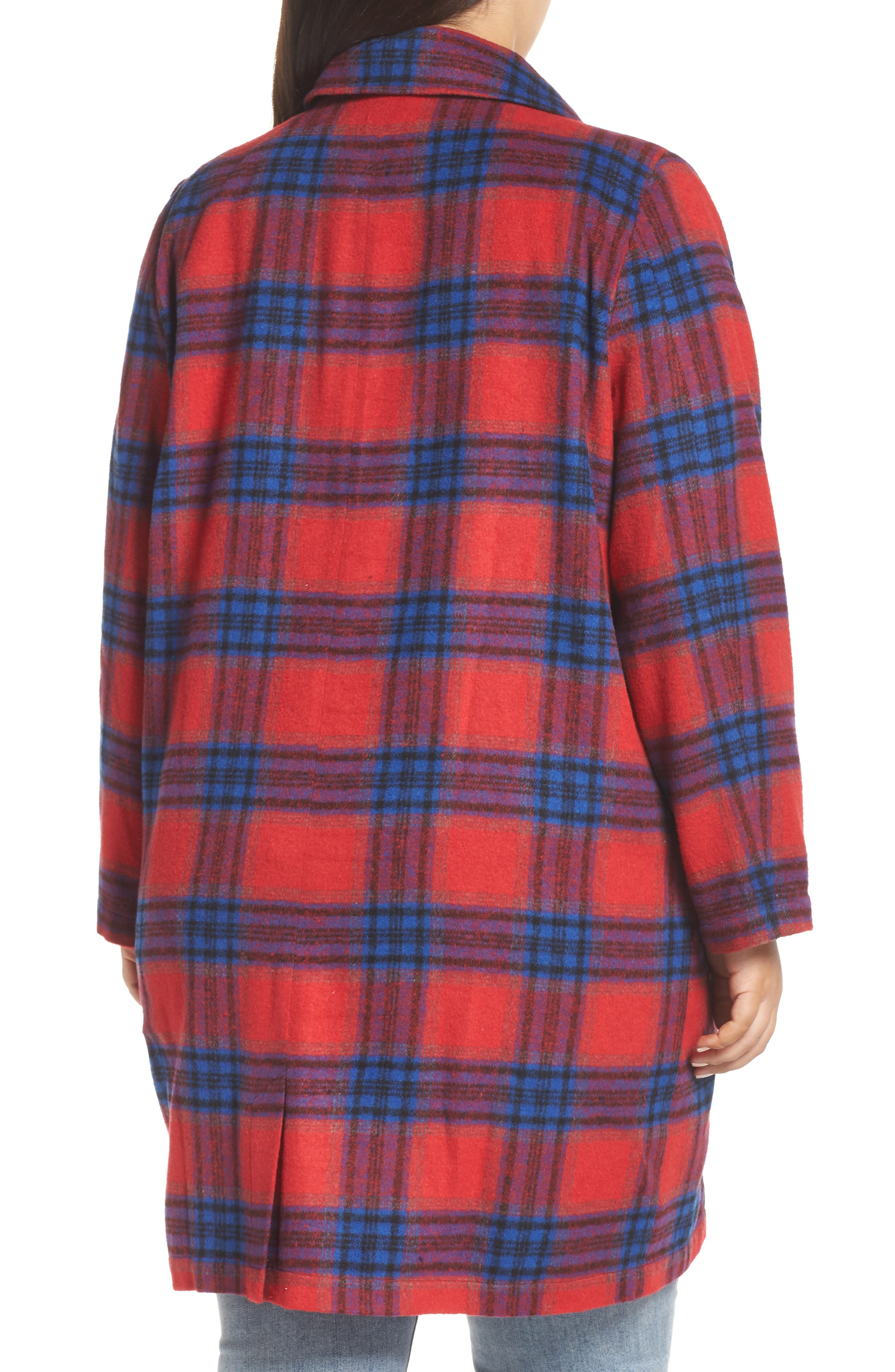 Double Breasted Plaid Jacket,                             Alternate thumbnail 2, color,                             RED CHINOISE RITA PLAID