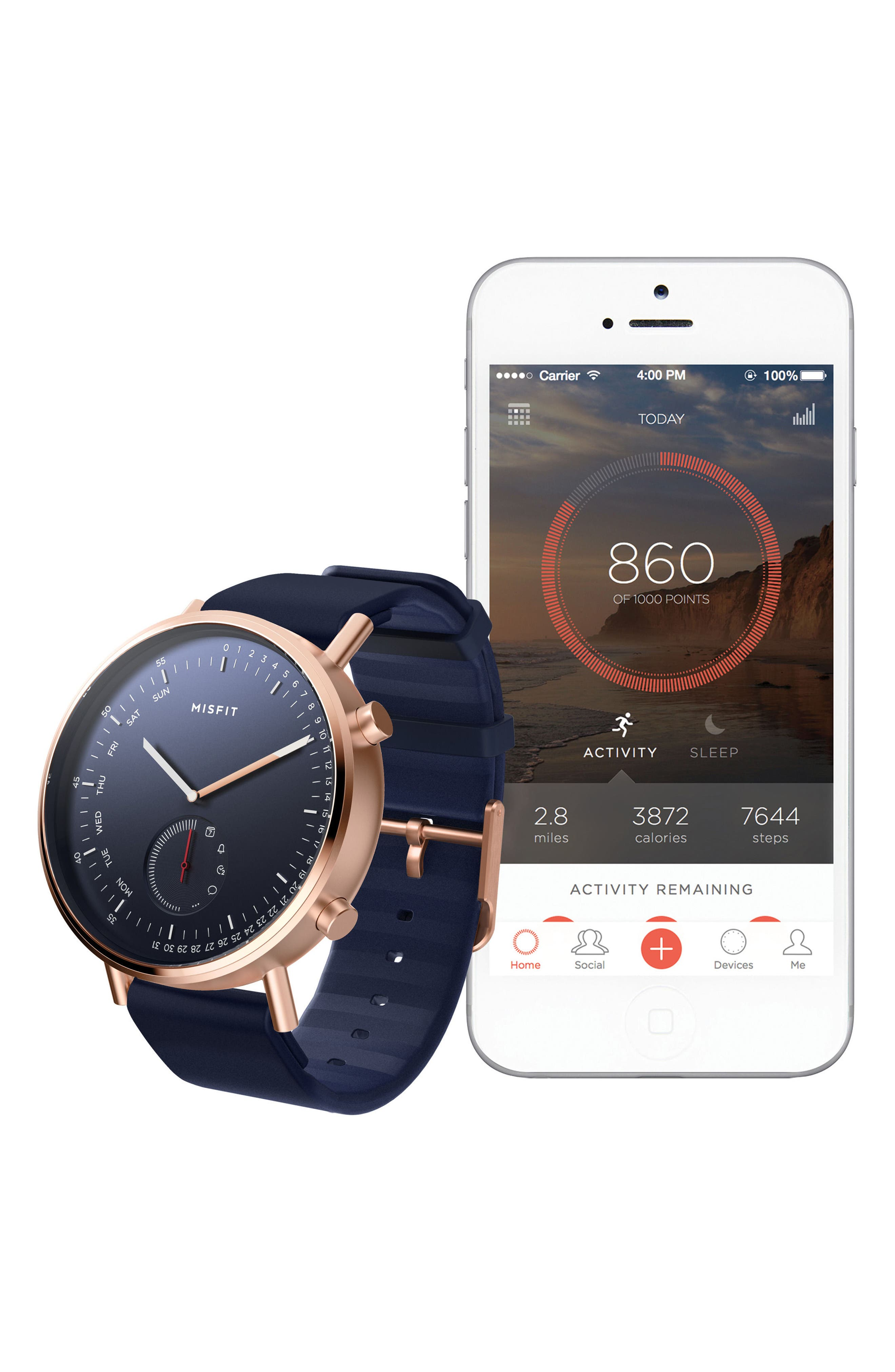 Command Hybrid Silicone Strap Smart Watch, 44mm,                             Alternate thumbnail 4, color,                             NAVY/ ROSE GOLD
