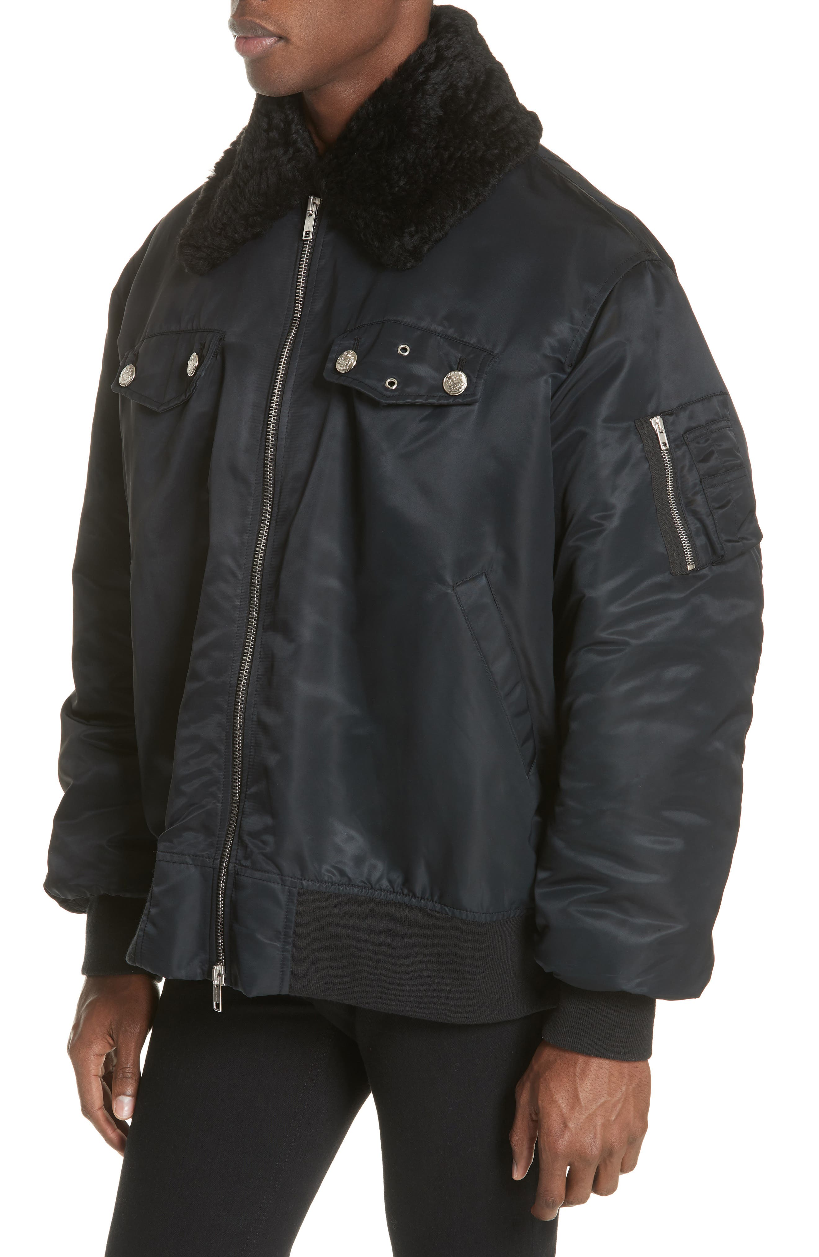 Oversize Bomber Jacket with Genuine Shearling Collar,                             Alternate thumbnail 4, color,                             BLACK