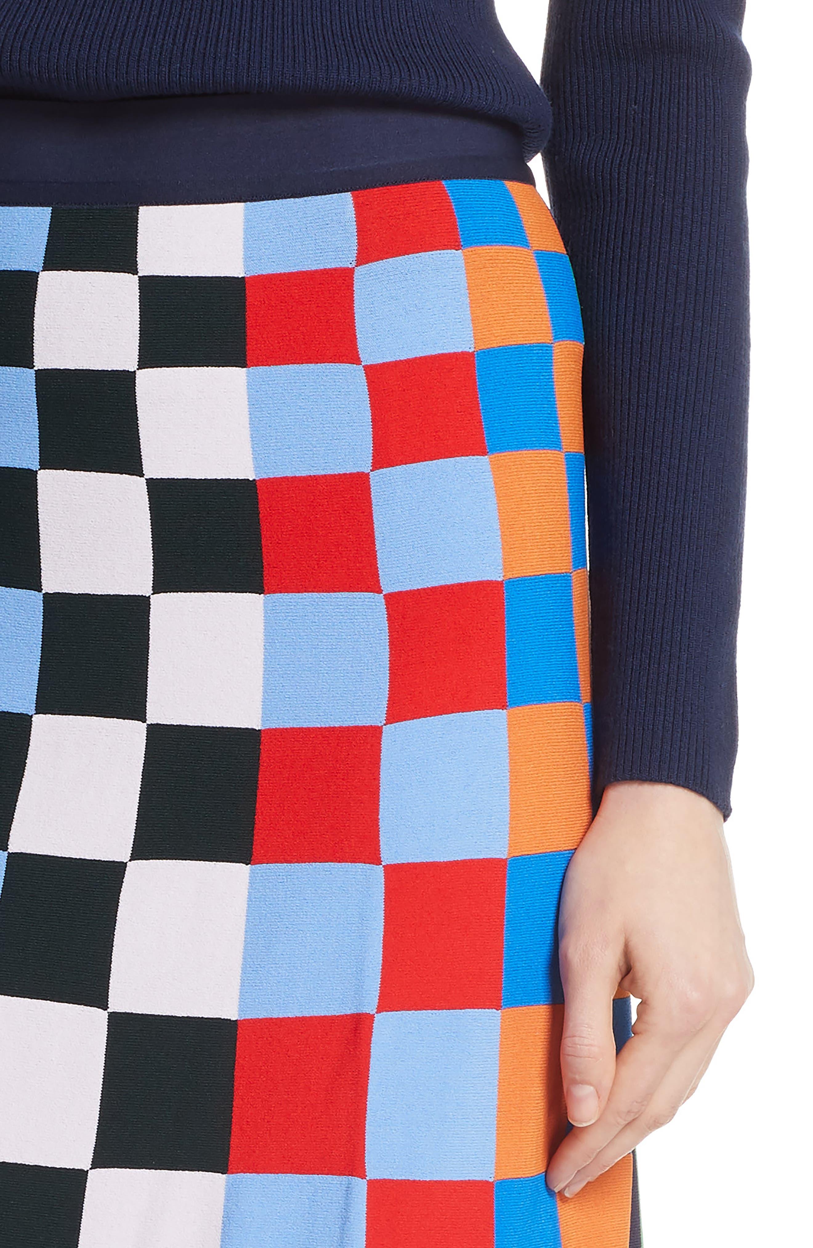 Check Tech Knit Skirt,                             Alternate thumbnail 4, color,                             CHECK STRIPE ALLOVER MULTI