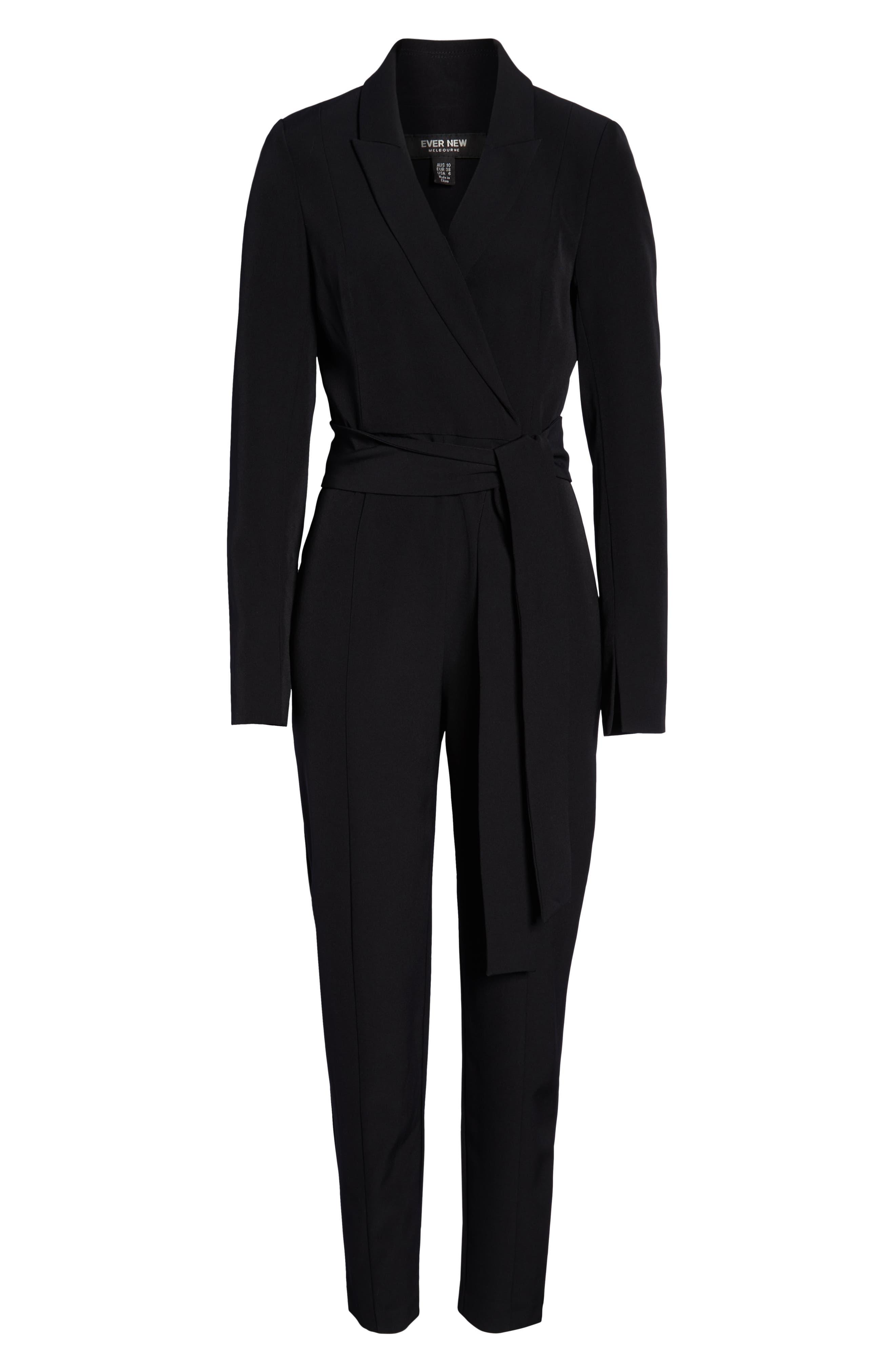 Tuxedo Jumpsuit,                             Alternate thumbnail 7, color,                             BLACK