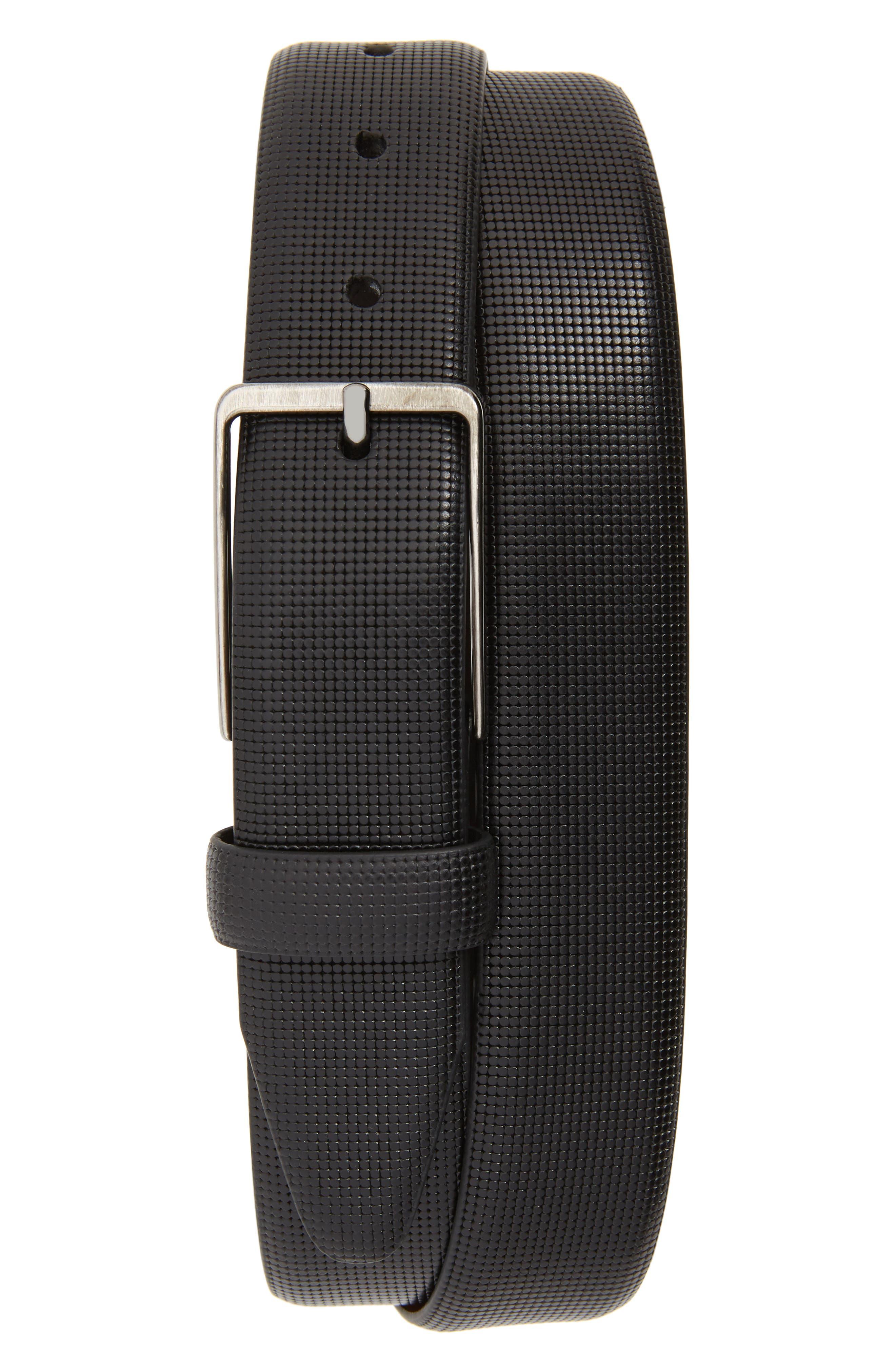Mini Embossed Leather Belt,                         Main,                         color, BLACK