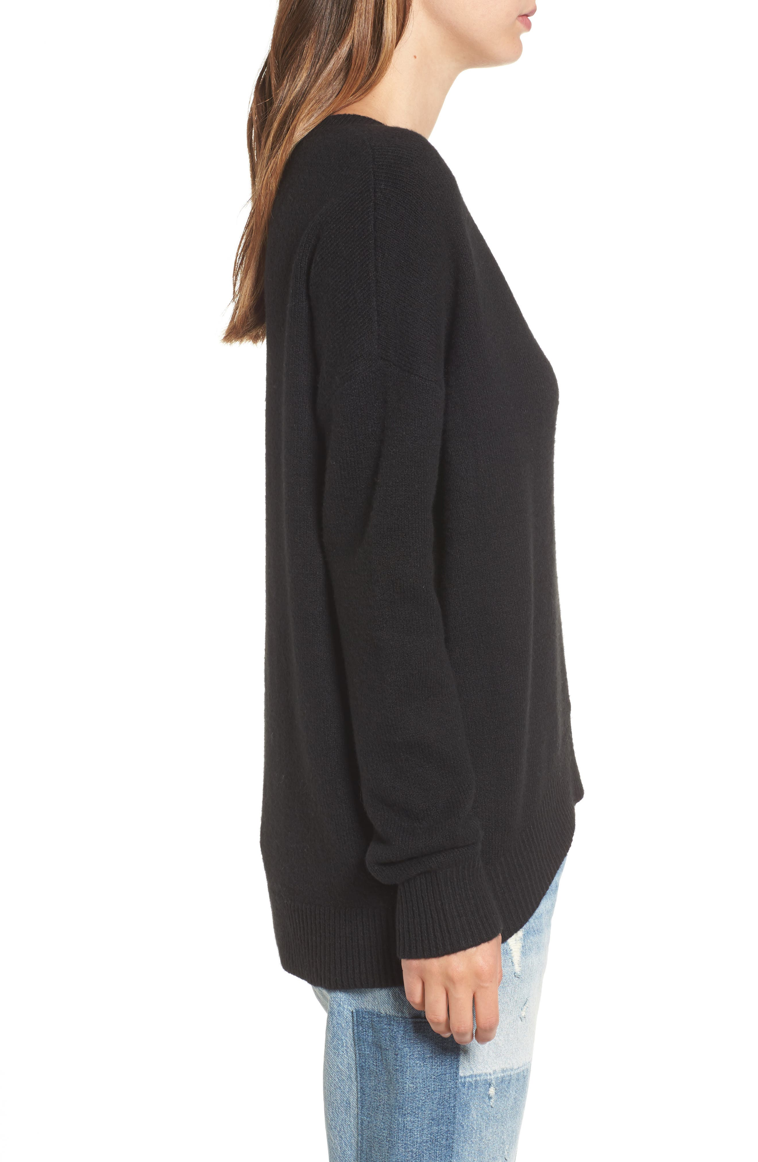 V-Neck High/Low Sweater,                             Alternate thumbnail 3, color,                             001