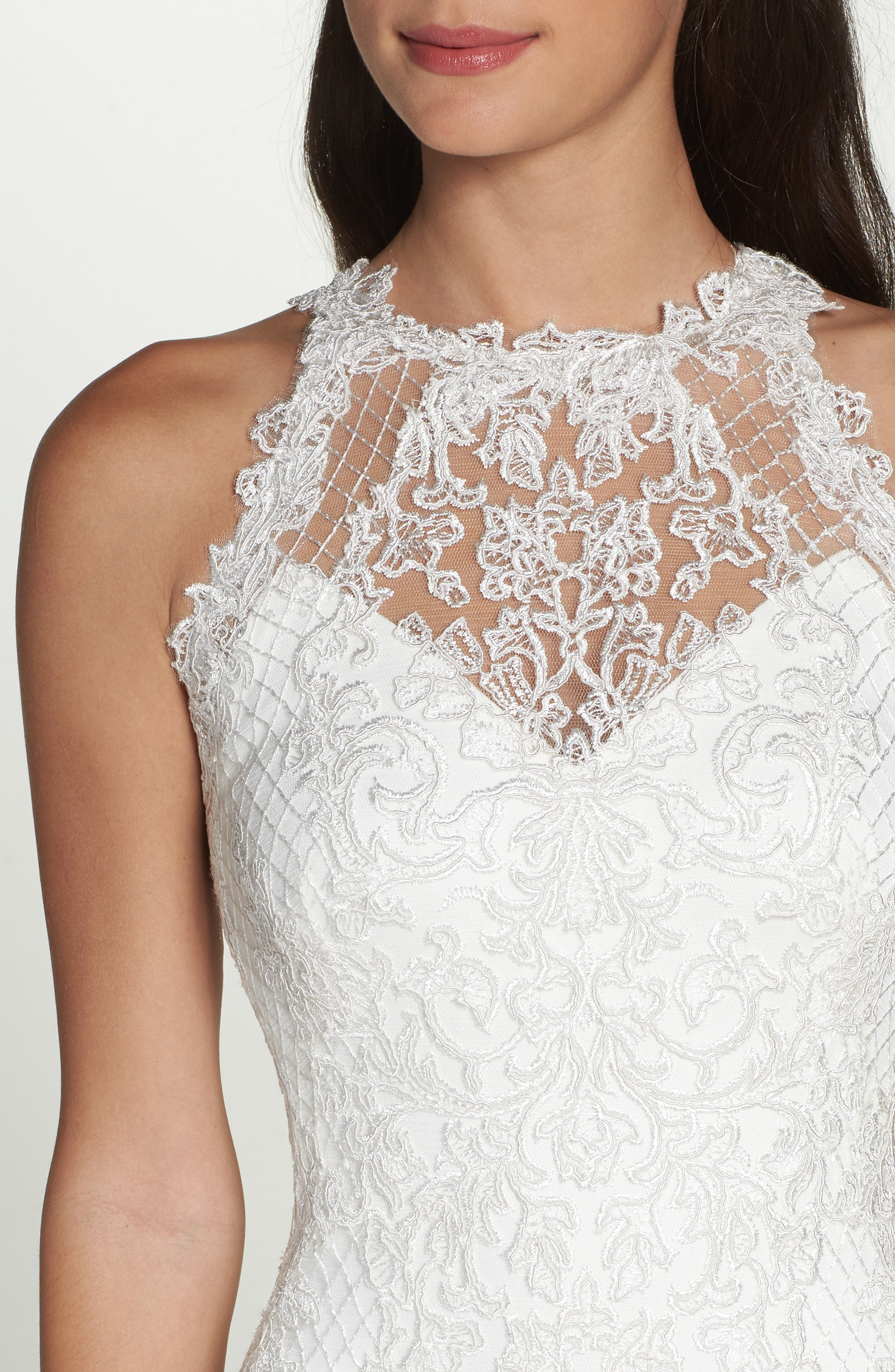 Lace Halter Mermaid Gown,                             Alternate thumbnail 4, color,                             IVORY