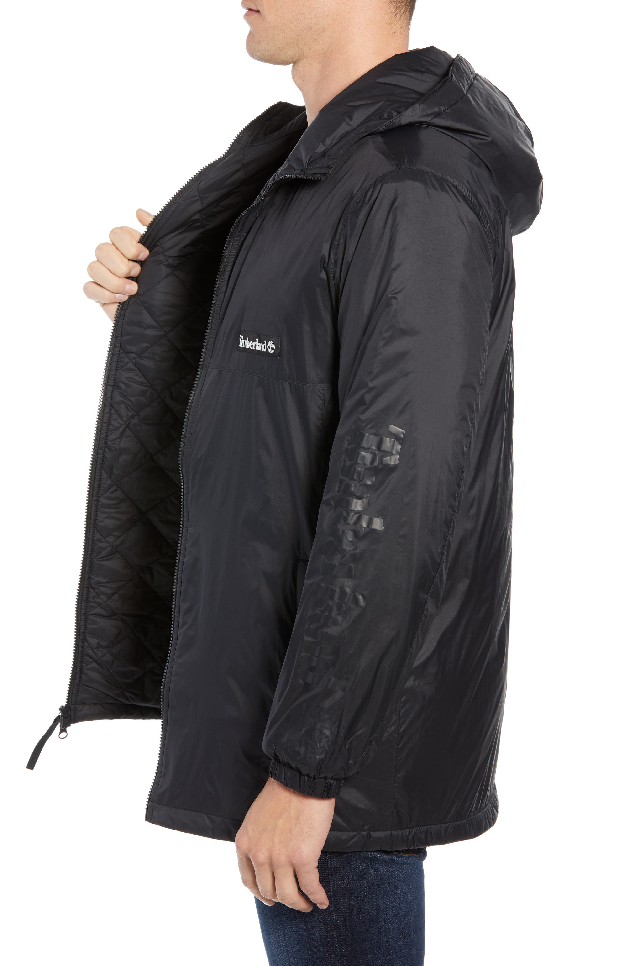Water Resistant Insulated Coat,                             Alternate thumbnail 3, color,                             BLACK