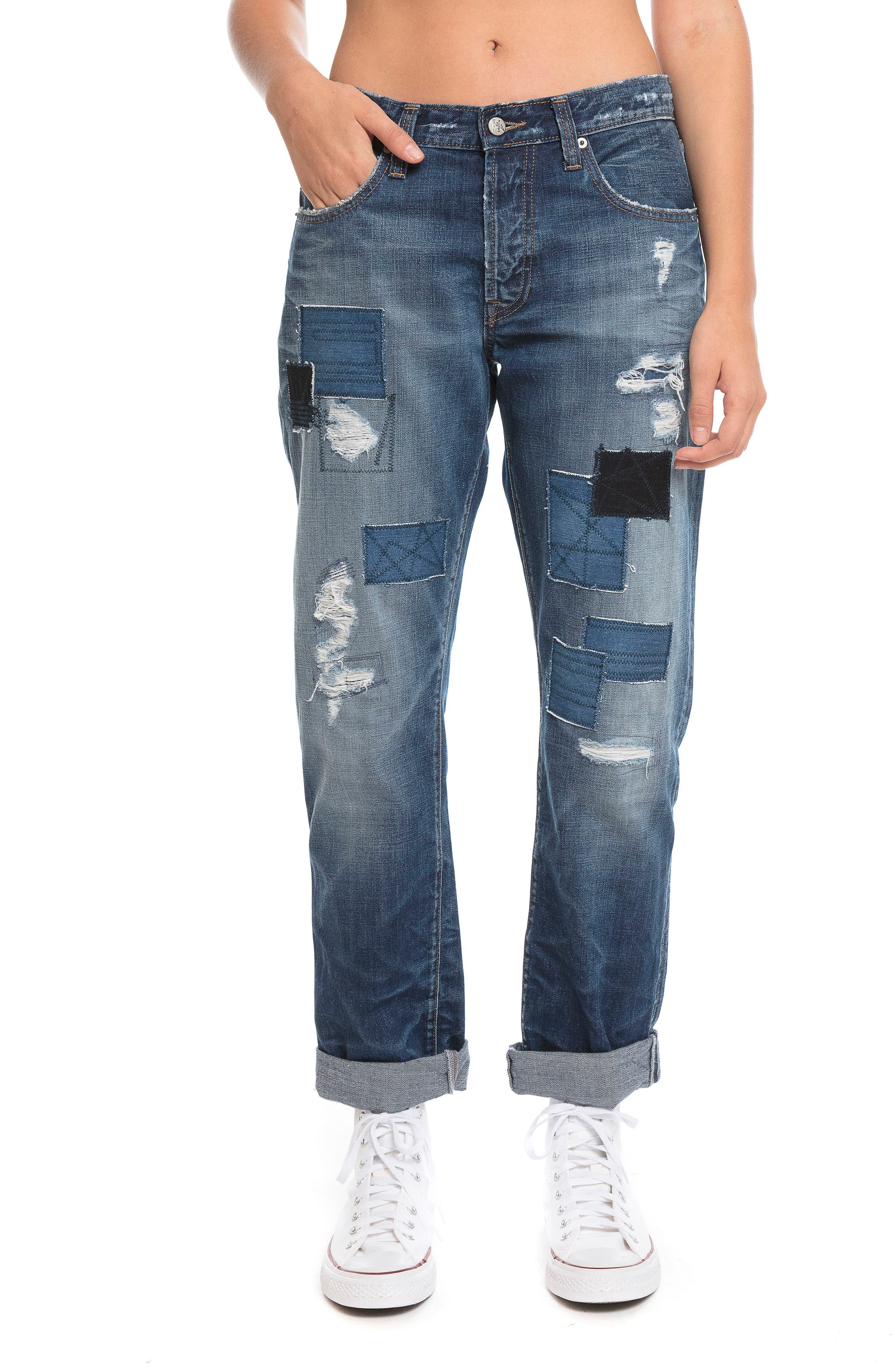 El Camino - Patch It Boyfriend Jeans,                             Alternate thumbnail 2, color,                             INDIGO