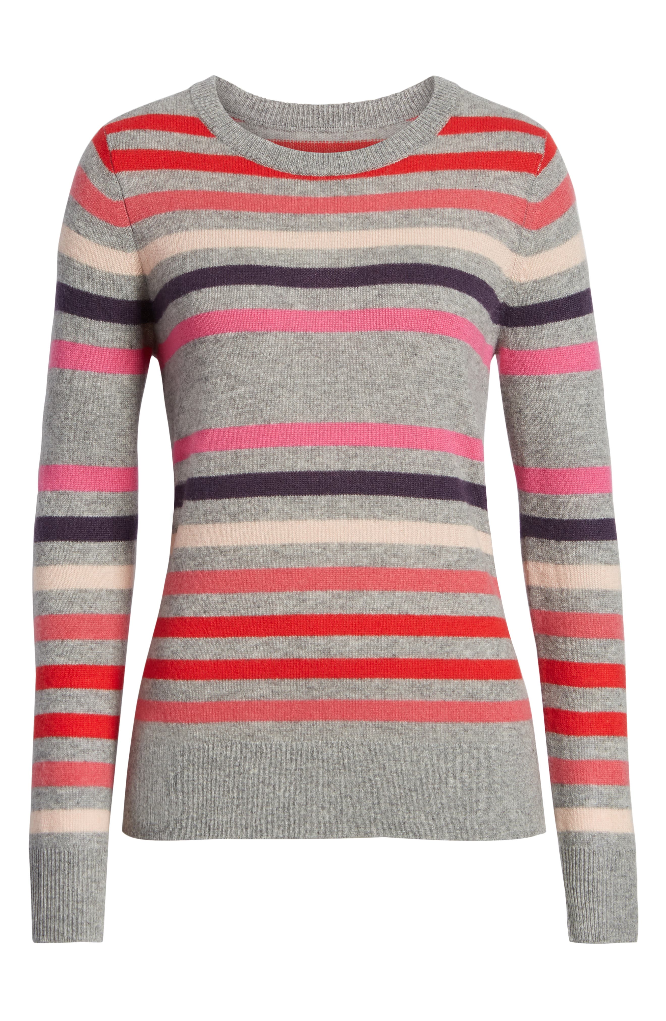 Crewneck Cashmere Sweater,                             Alternate thumbnail 6, color,                             GREY- PINK STRIPE