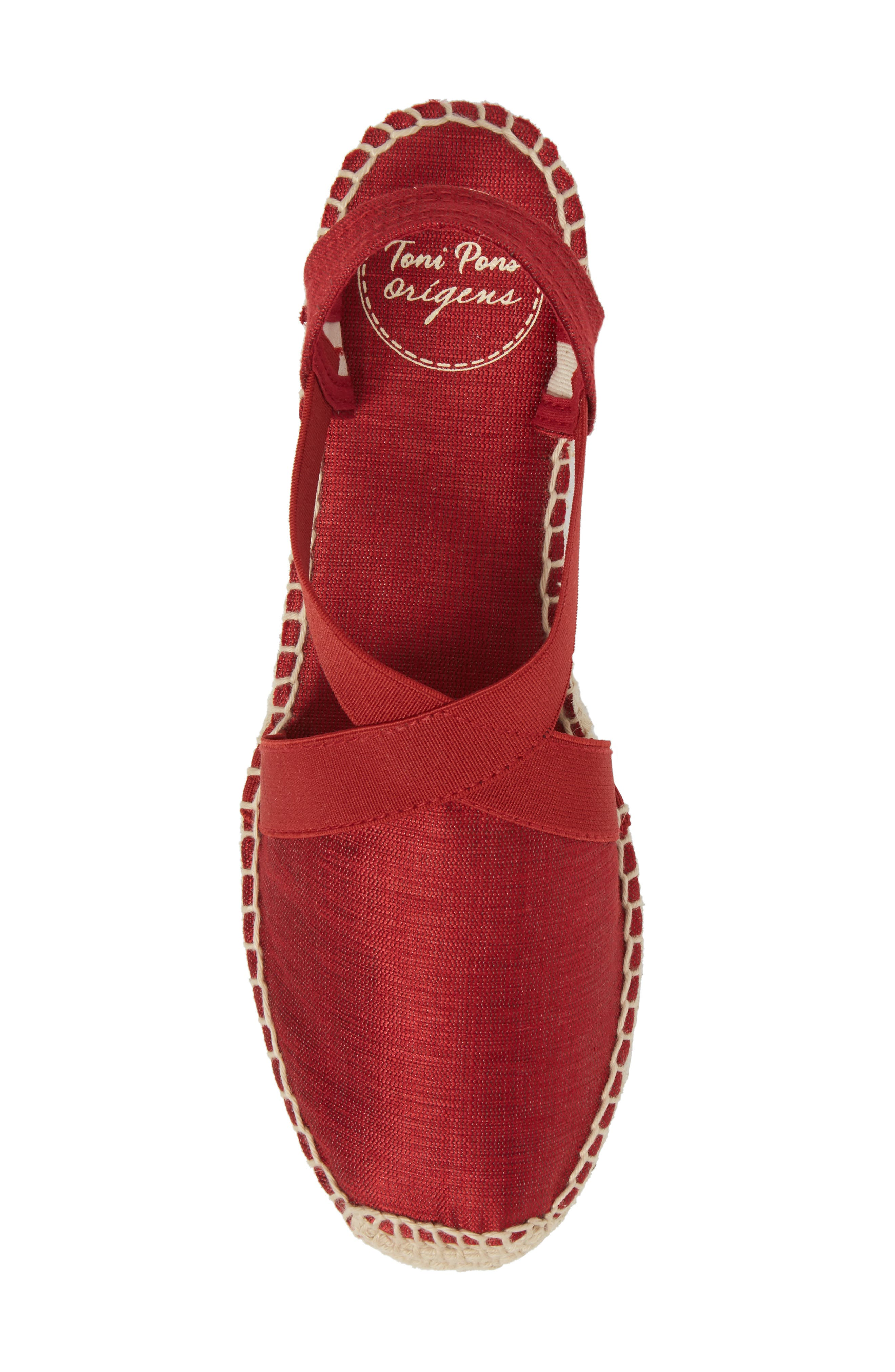 'Vic' Espadrille Slingback Sandal,                             Alternate thumbnail 5, color,                             RED FABRIC
