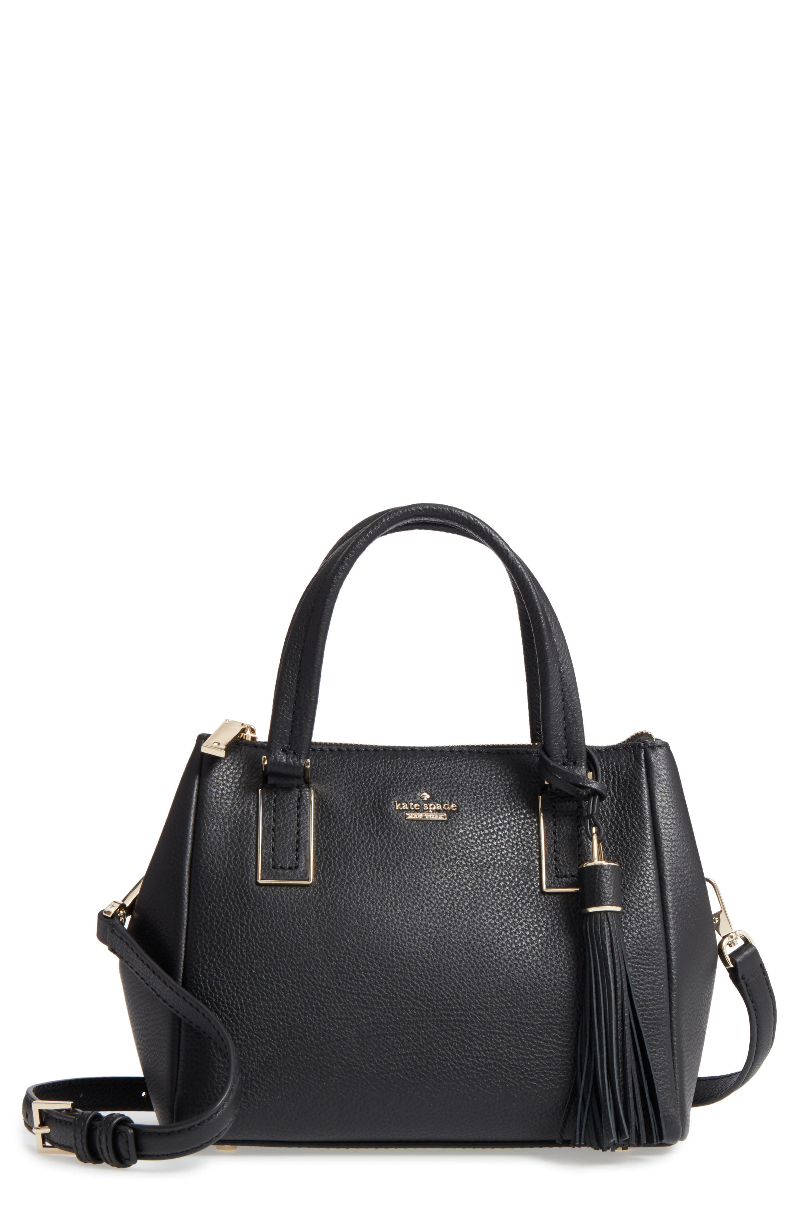 kingston drive - small alena leather satchel,                         Main,                         color, BLACK