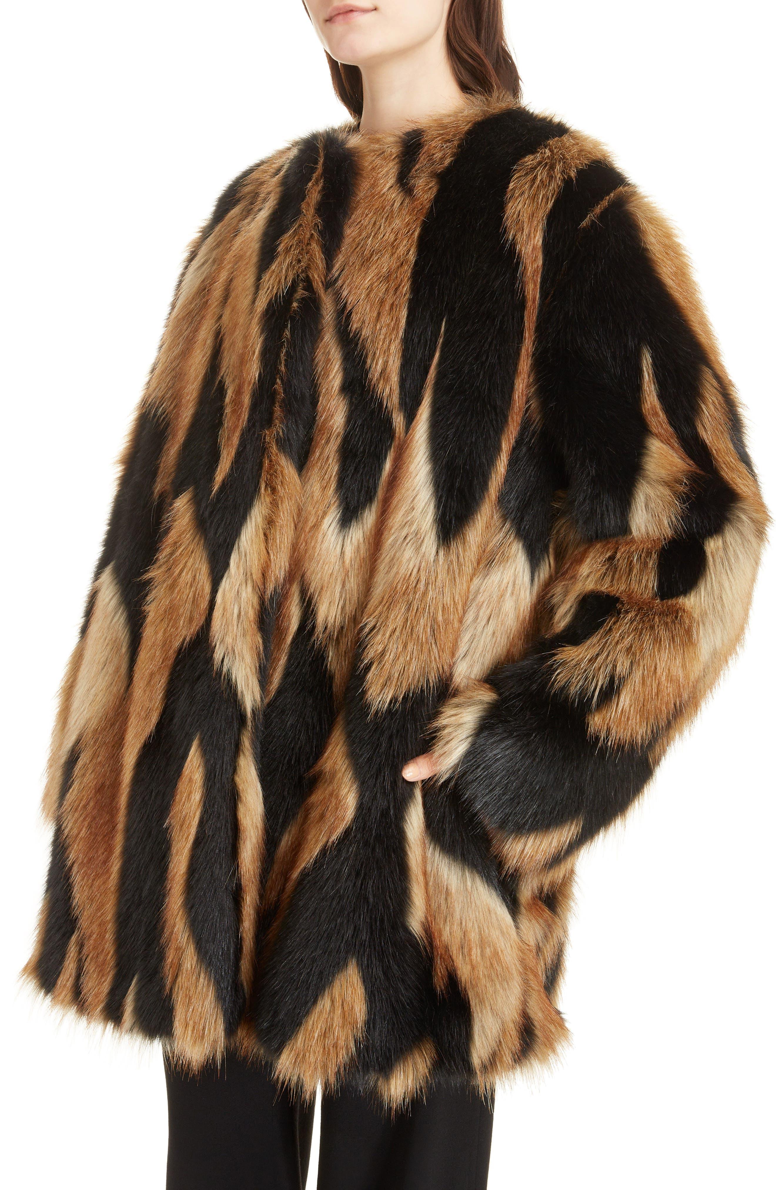 Bicolor Faux Fur Coat,                             Alternate thumbnail 4, color,                             002