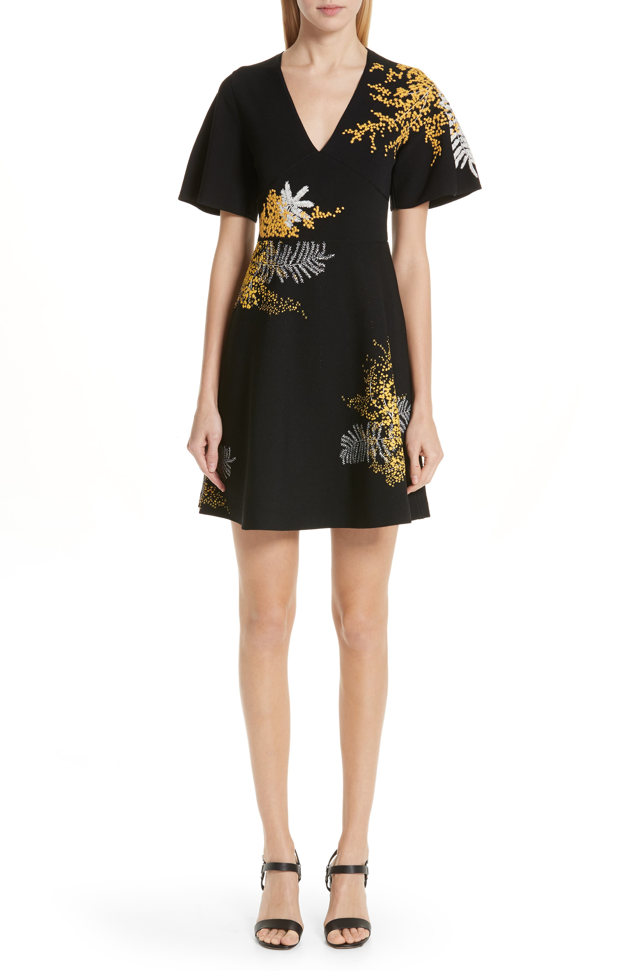 Mimosa Embroidered Fit & Flare Dress,                             Main thumbnail 1, color,                             BLACK/ MULTI COLOR