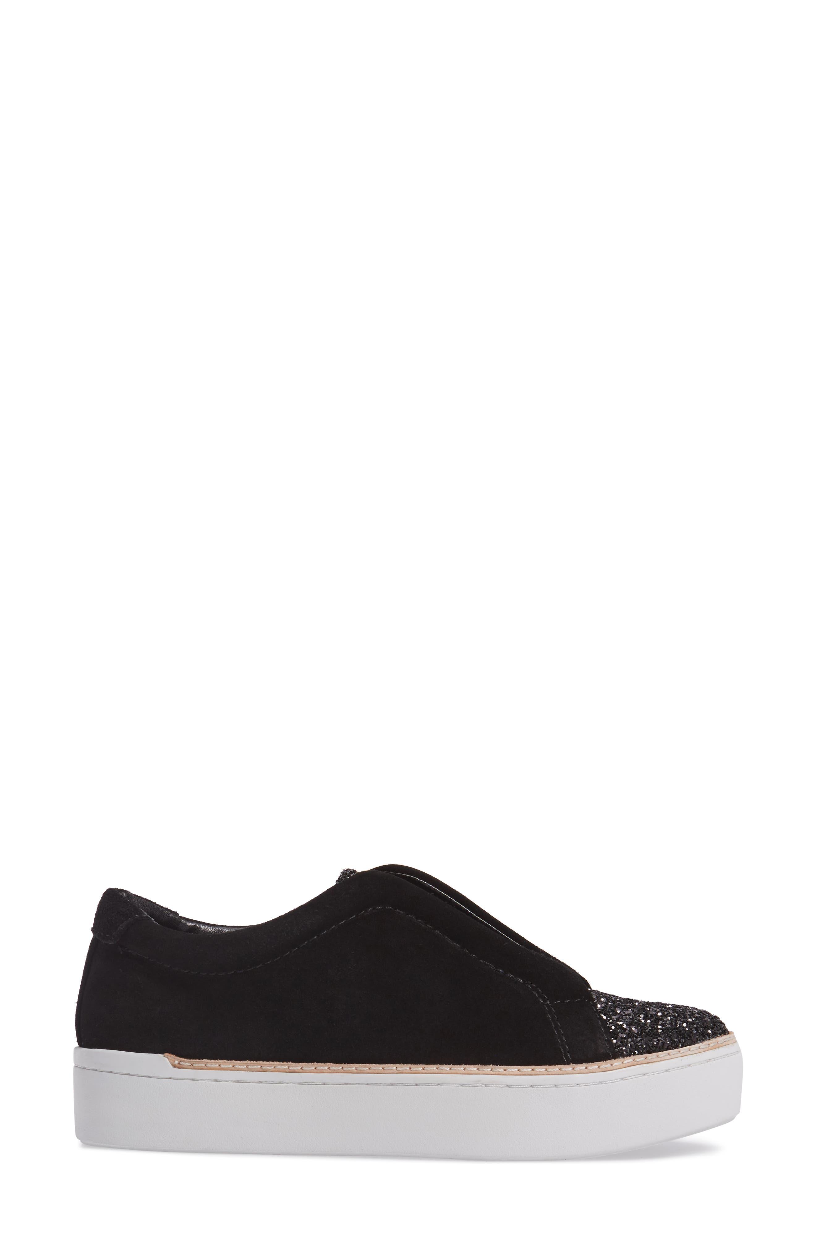 M4D3 Super Slip-On Sneaker,                             Alternate thumbnail 3, color,                             BLACK GLITTER LEATHER