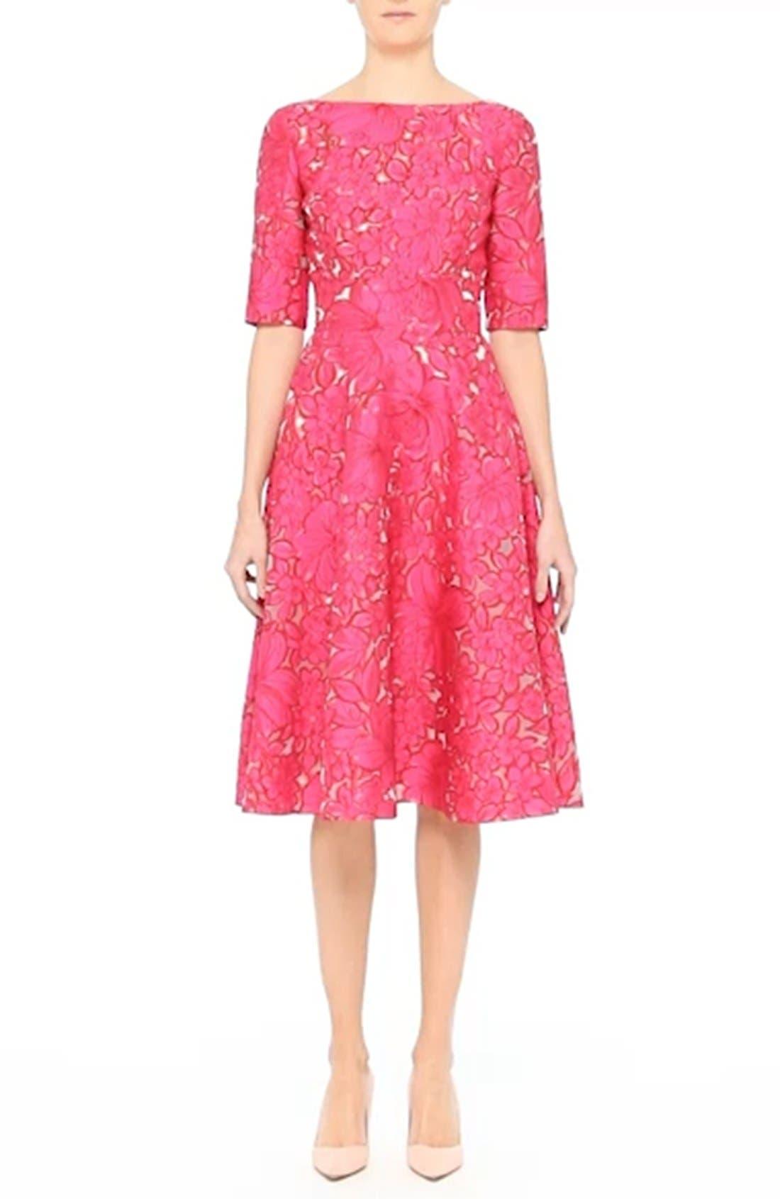 Floral Fil Coupé Fit & Flare Dress,                             Alternate thumbnail 8, color,                             659