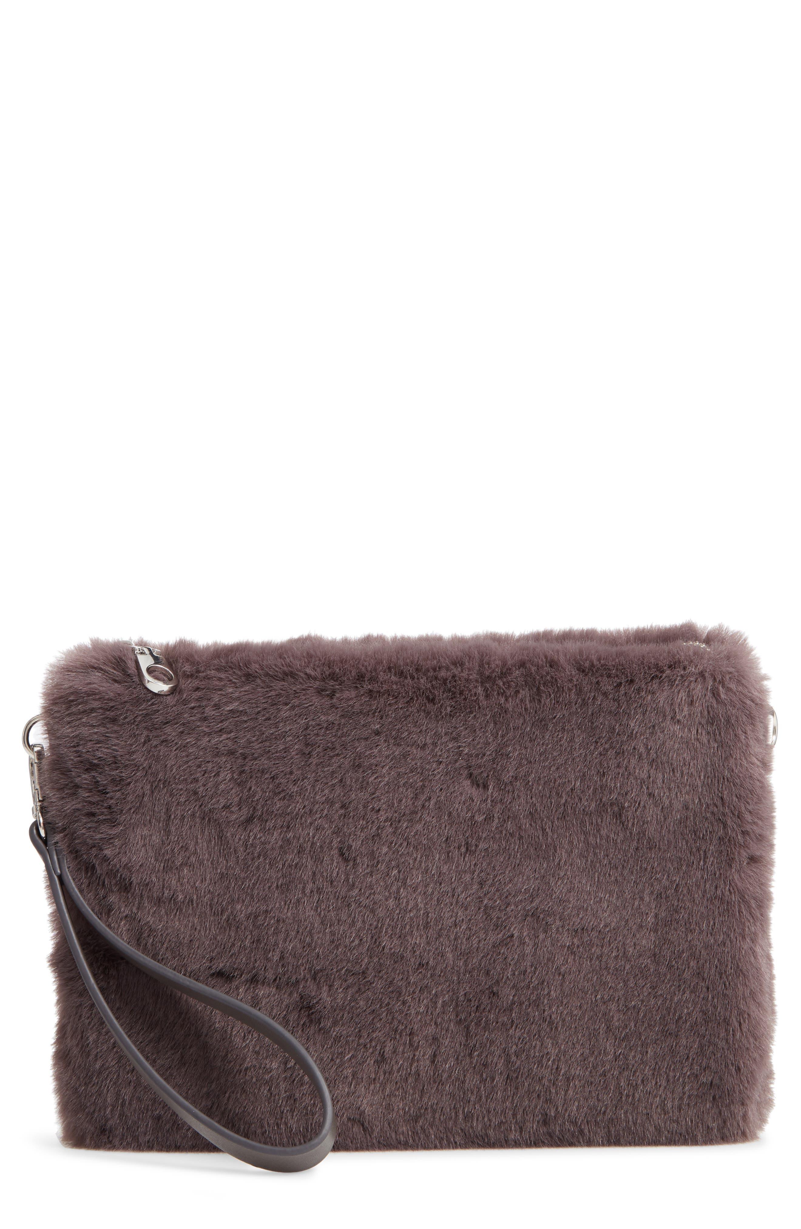 Astley Faux Fur Convertible Clutch,                             Main thumbnail 1, color,                             GREY CASTLEROCK