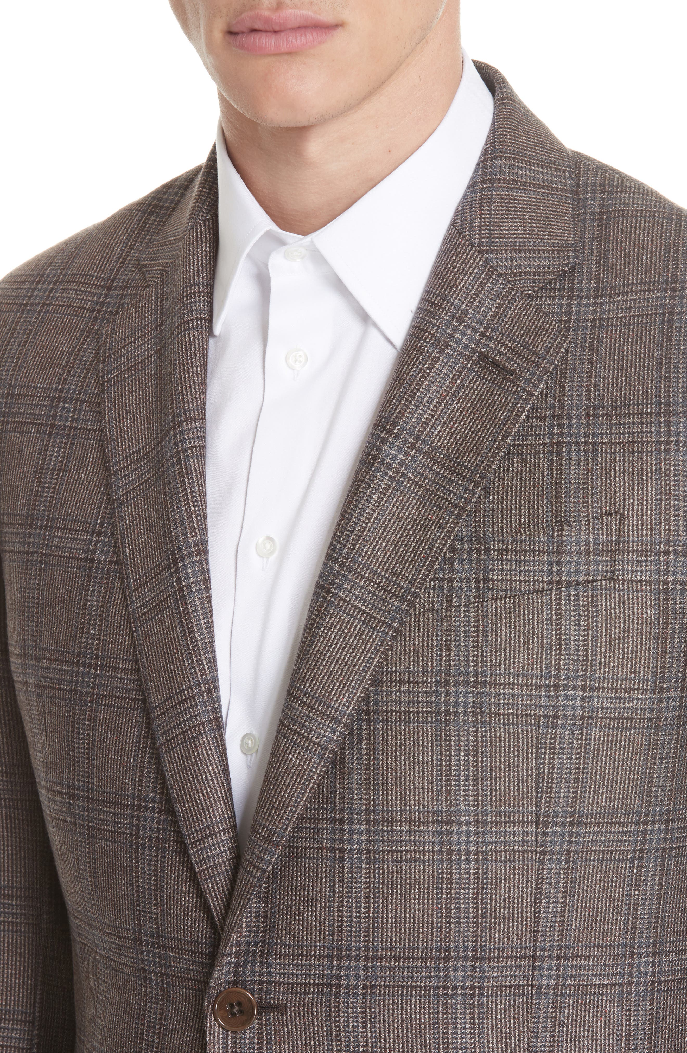 G Line Trim Fit Plaid Silk & Wool Sport Coat,                             Alternate thumbnail 4, color,                             BROWN