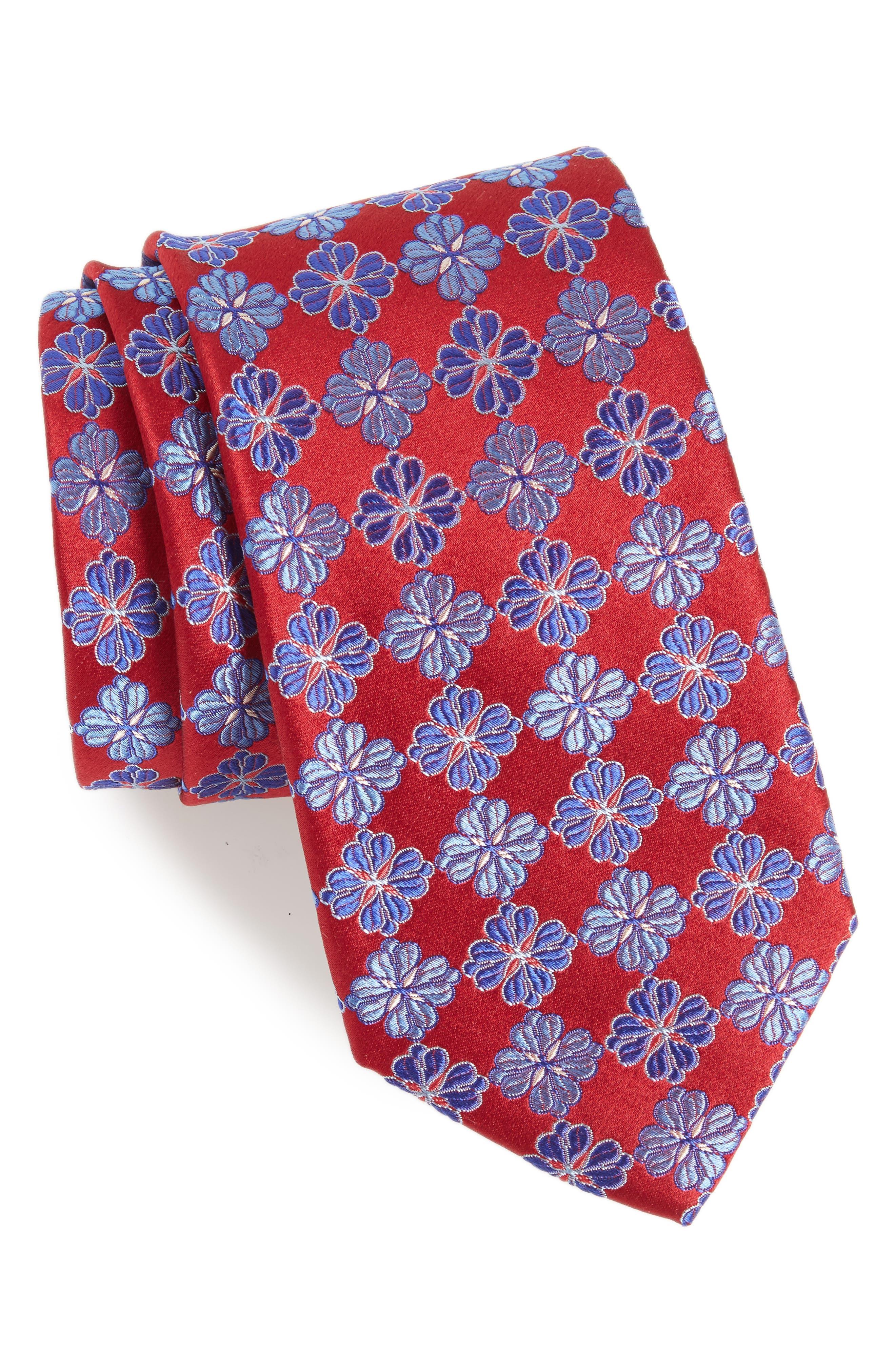 Cole Floral Silk Tie,                         Main,                         color, 602
