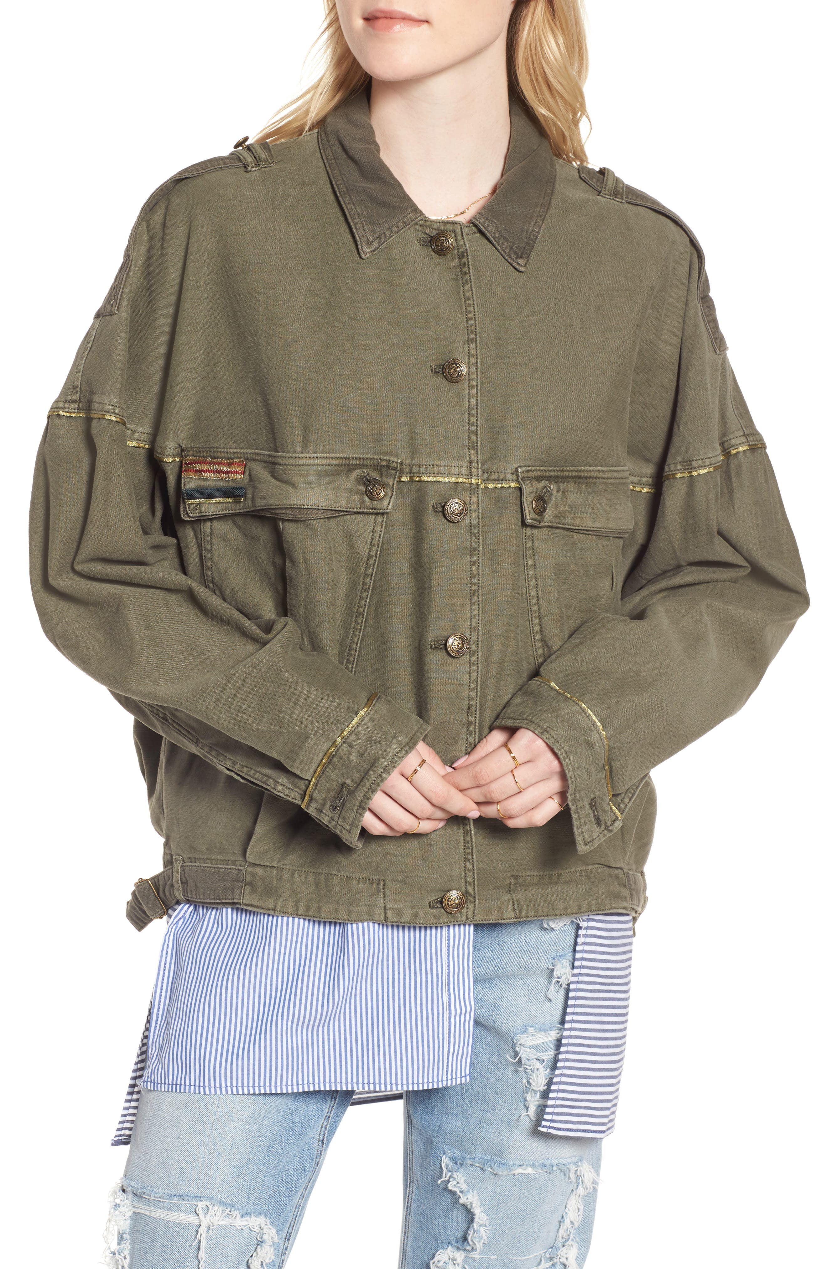 Slouchy Military Jacket,                             Alternate thumbnail 4, color,