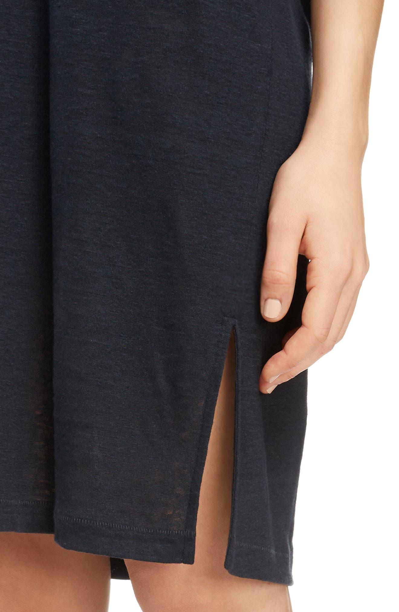 Saga Linen T-Shirt Dress,                             Alternate thumbnail 4, color,                             001