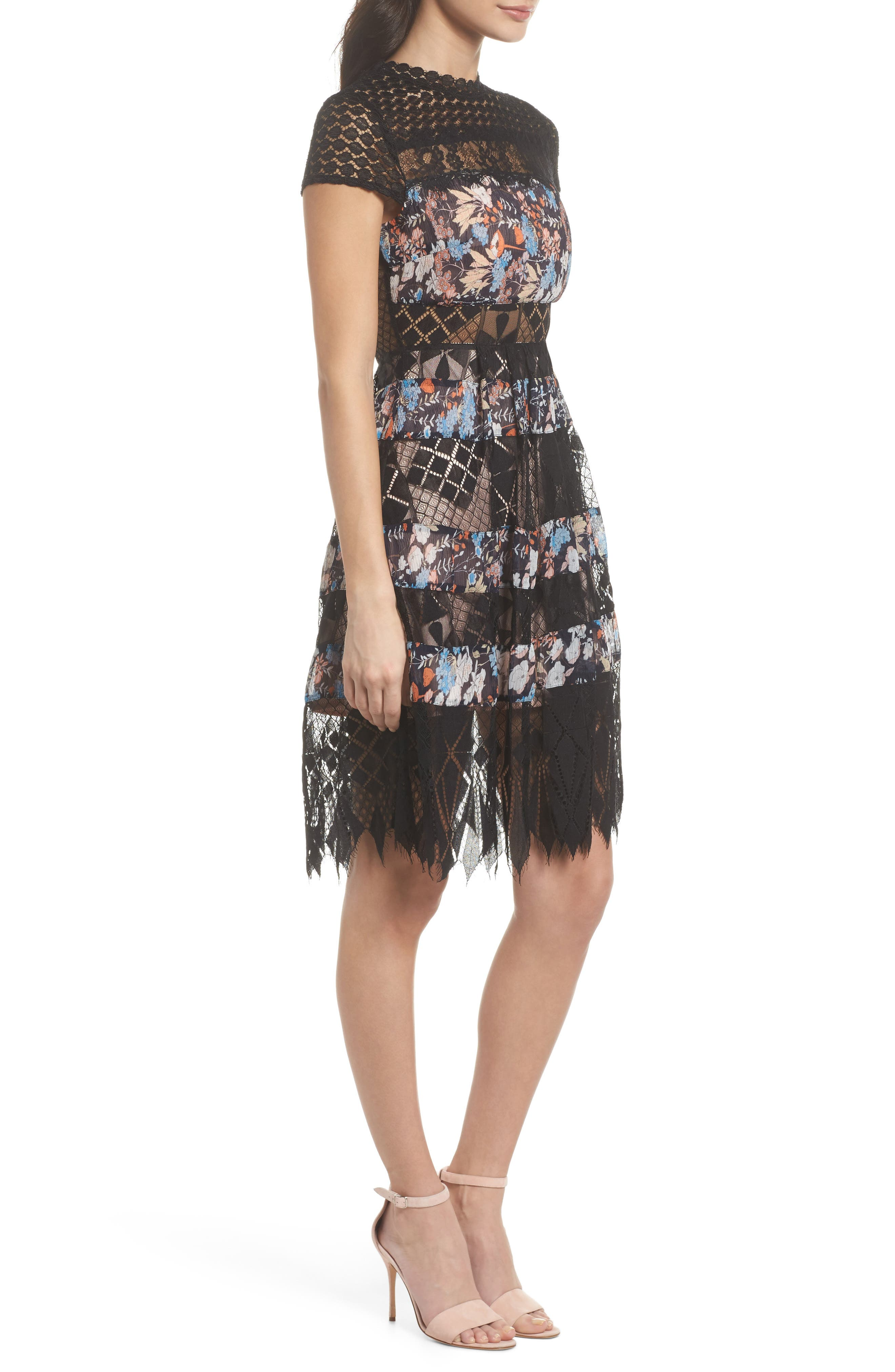 Adriana Lace Panel Dress,                             Alternate thumbnail 3, color,                             400