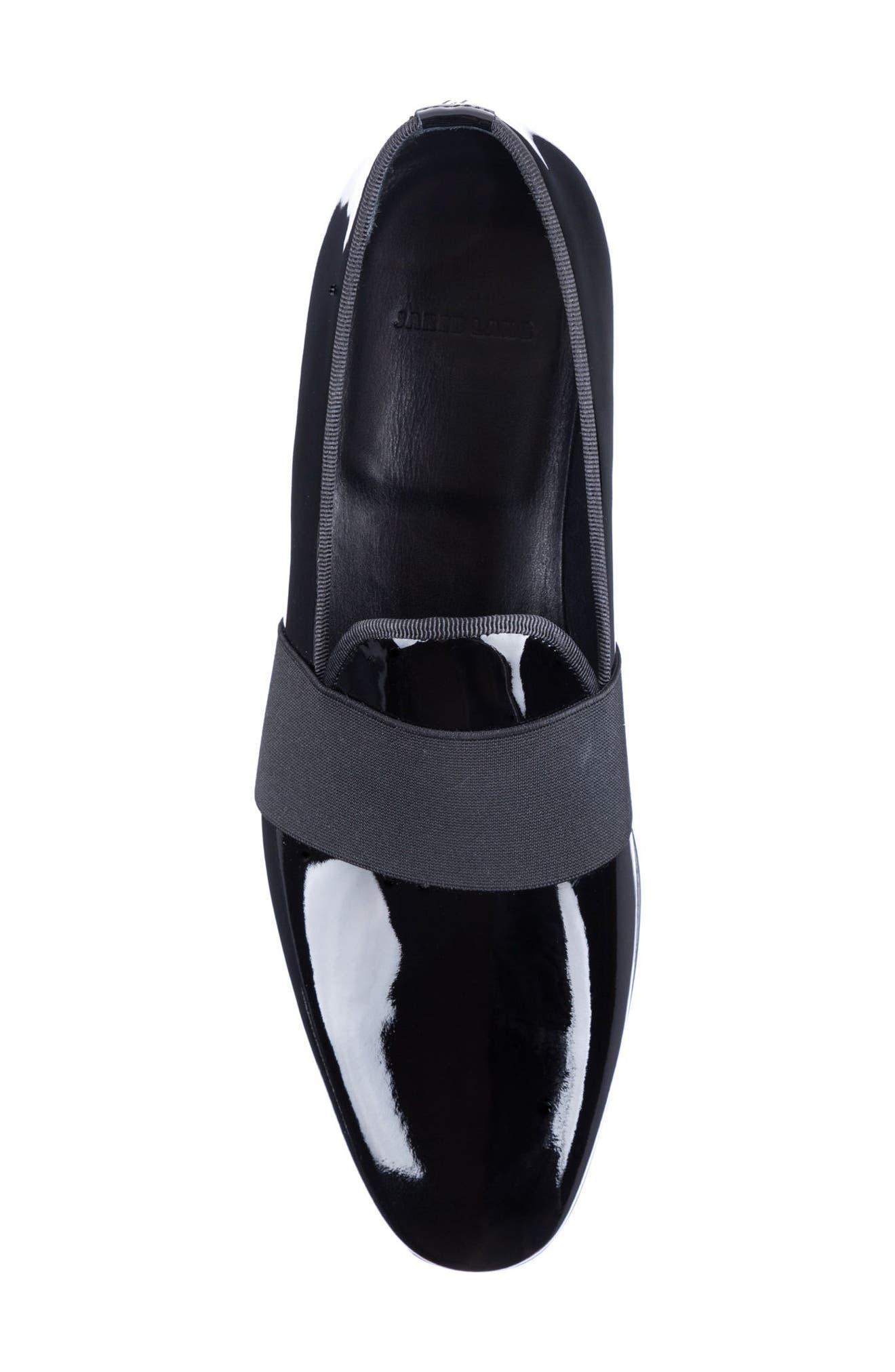 Alessandro Banded Venetian Loafer,                             Alternate thumbnail 5, color,                             BLACK LEATHER