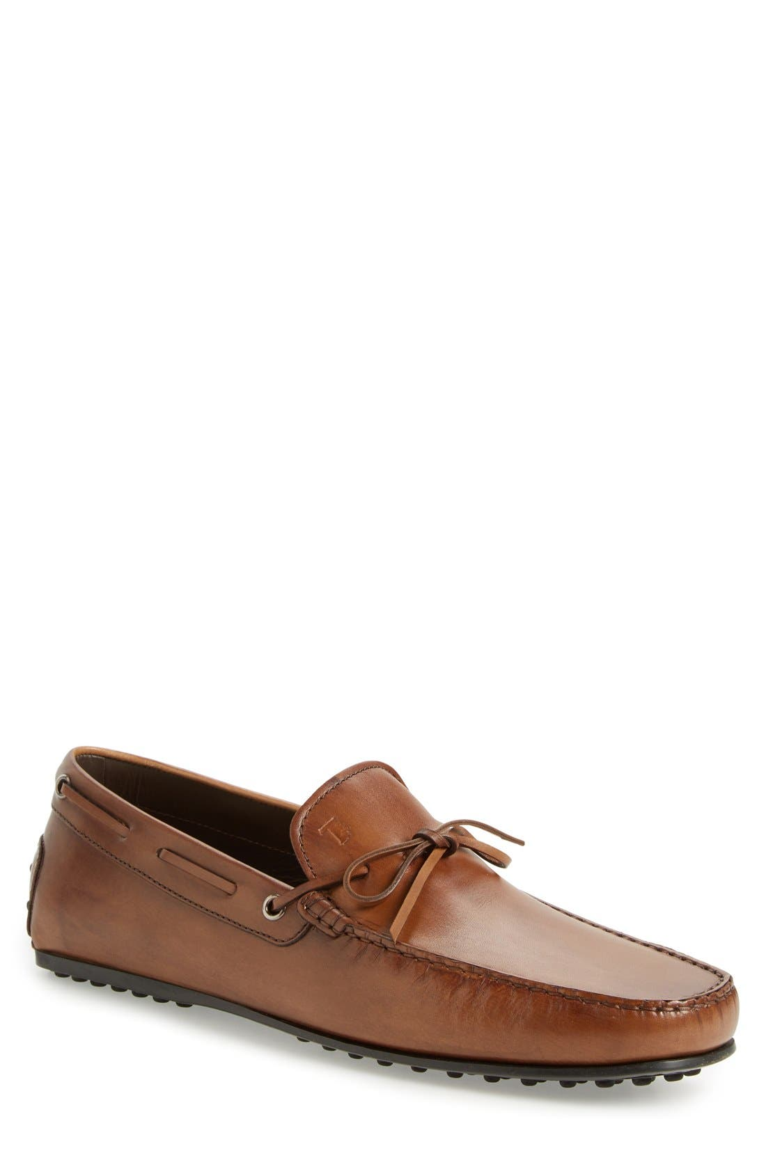 'City Gommini' Tie Front Driving Moccasin,                             Main thumbnail 1, color,                             220