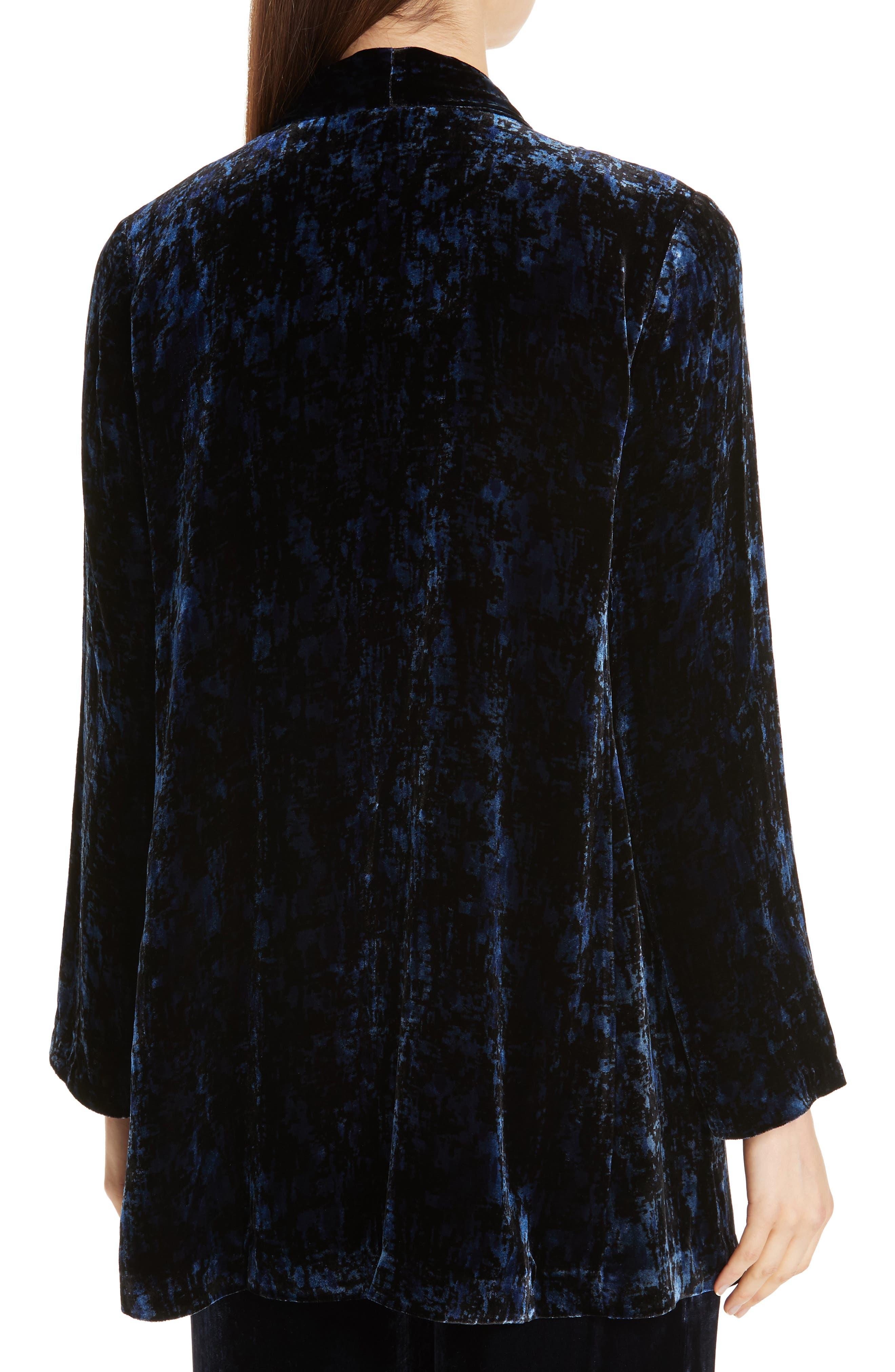 Shawl Collar Velvet Jacket,                             Alternate thumbnail 2, color,                             MIDNIGHT