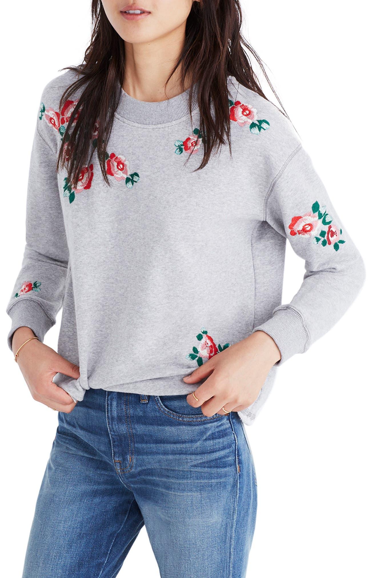 Embroidered Crop Sweatshirt,                             Main thumbnail 1, color,                             020