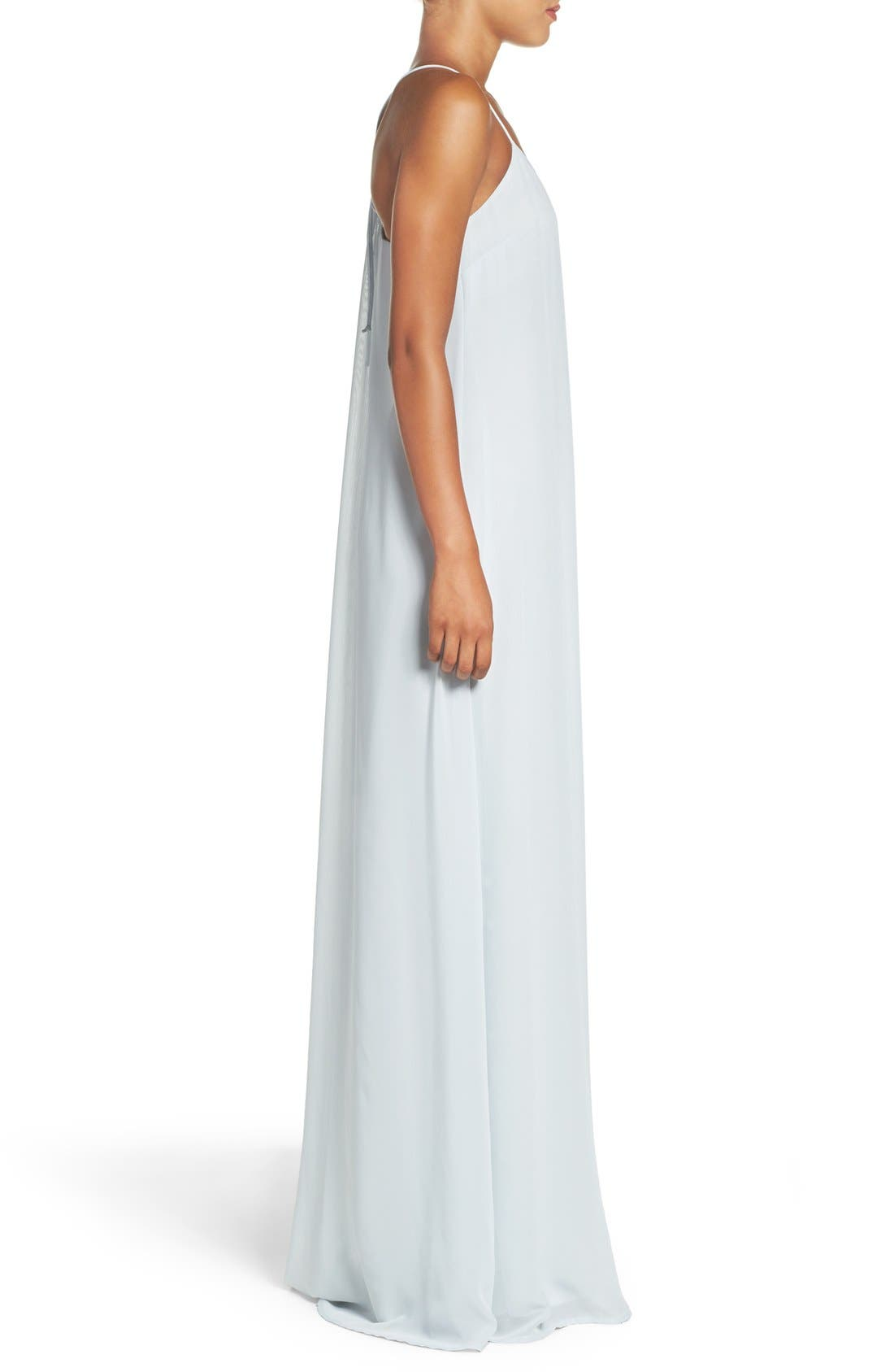 'Willa' V-Neck Trapeze Gown,                             Alternate thumbnail 3, color,                             451