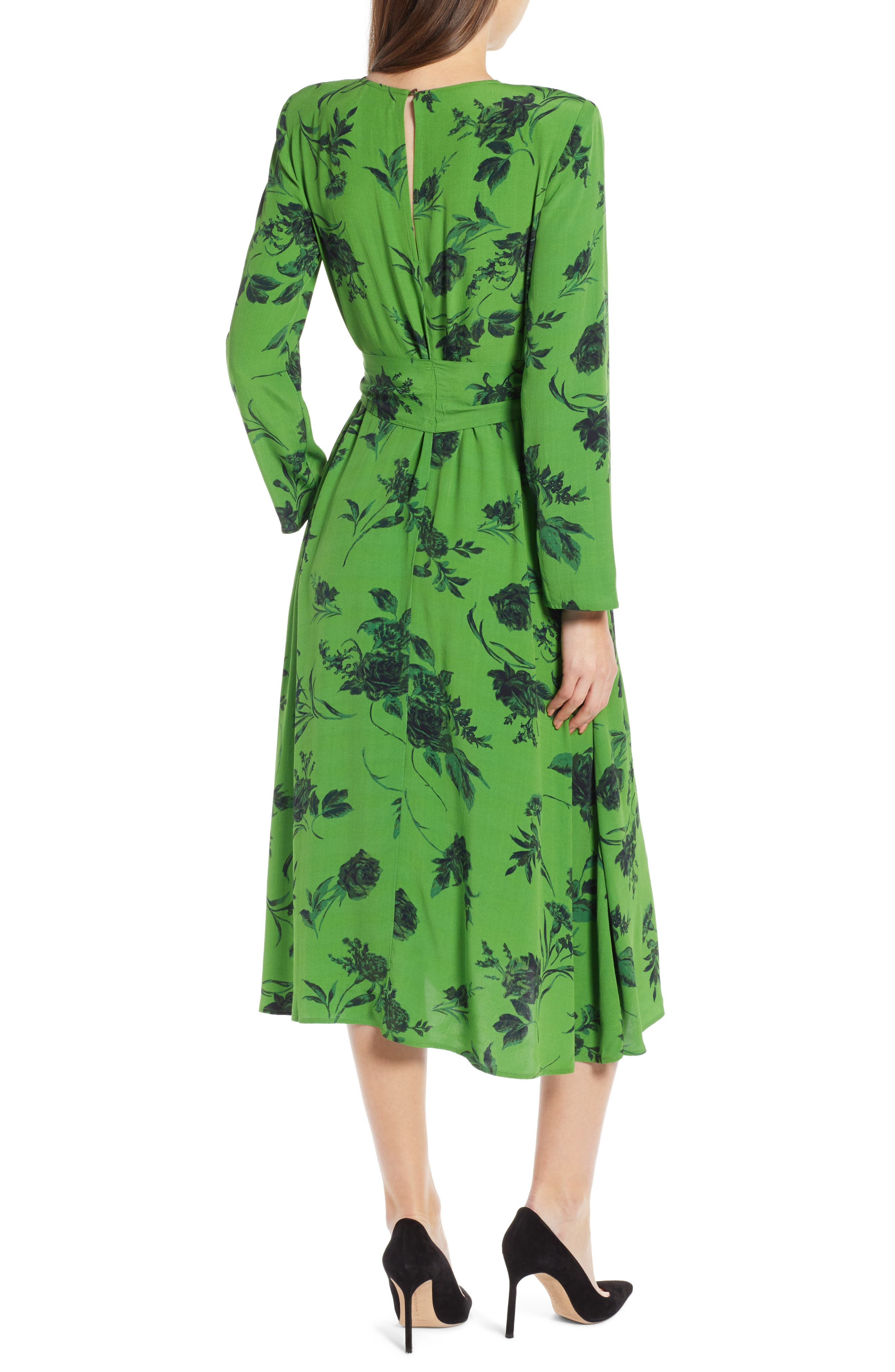 Belted Midi Dress,                             Alternate thumbnail 3, color,                             GREEN ENERGY TONAL FLORAL