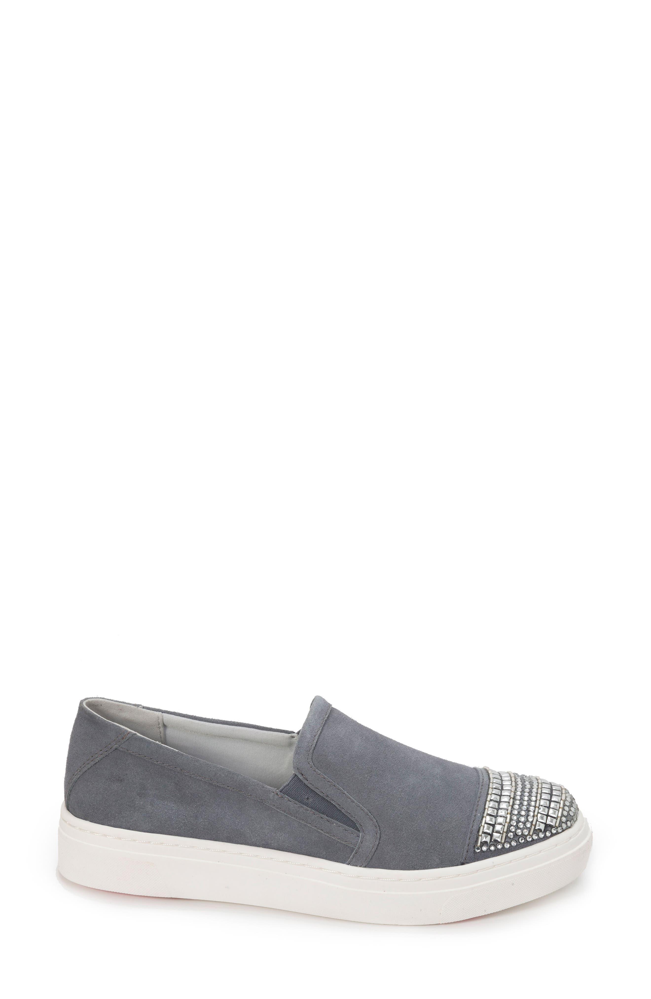 Finley Slip-On Sneaker,                             Alternate thumbnail 3, color,                             DENIM BLUE SUEDE