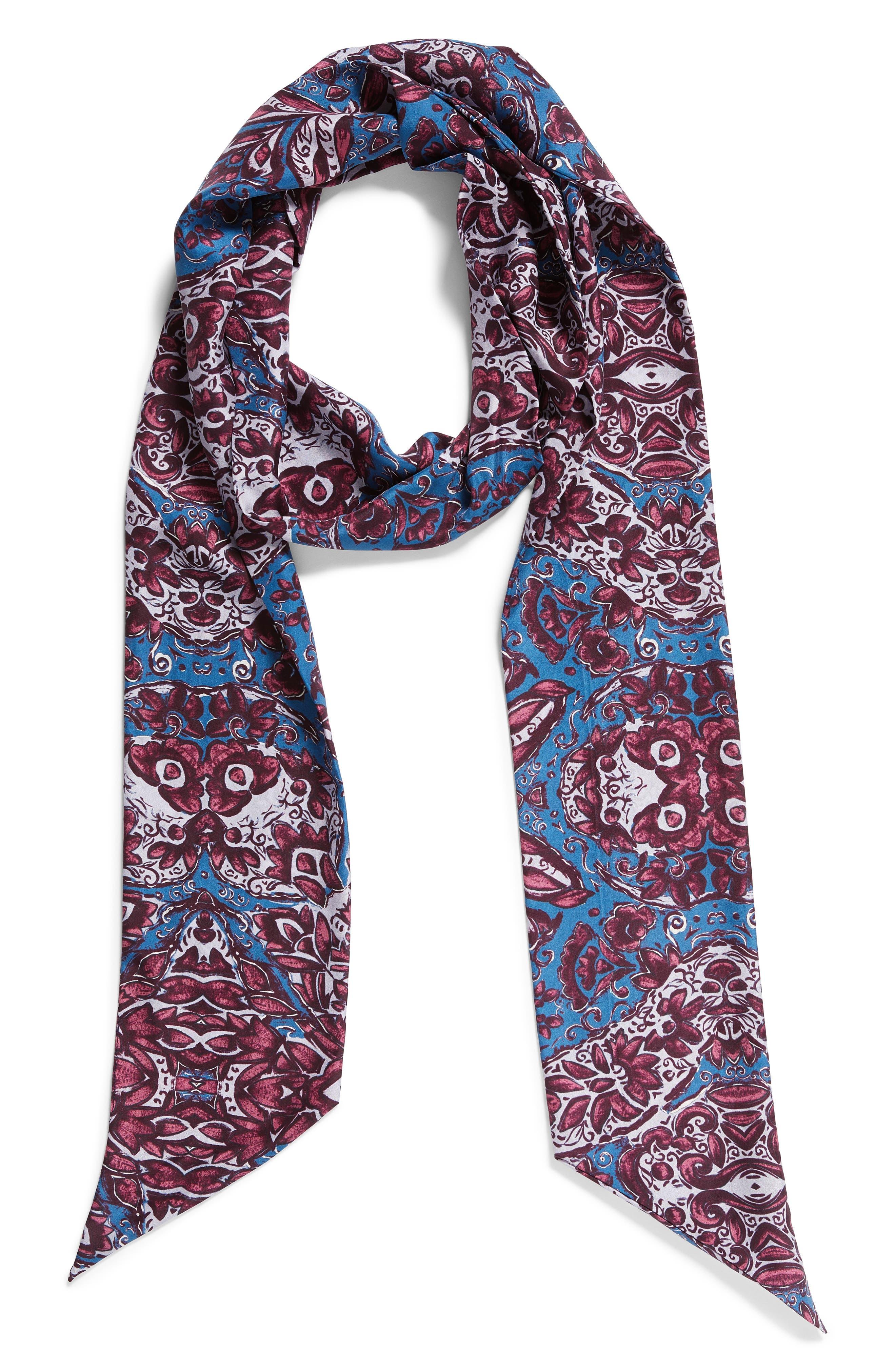 Opulent Tapestry Silk Skinny Scarf,                             Alternate thumbnail 2, color,                             420
