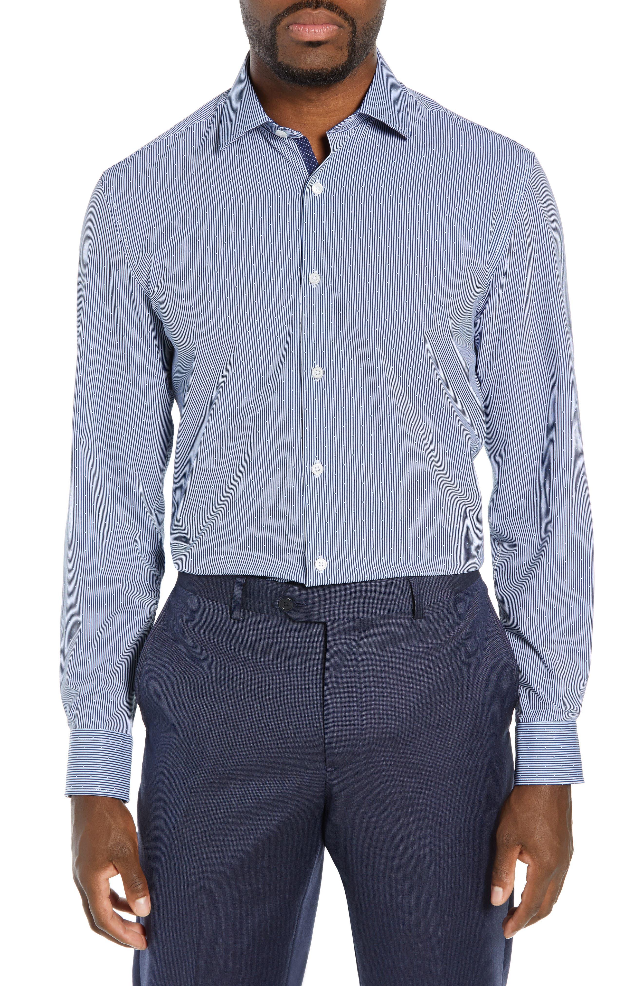 Trim Fit Stretch Stripe Dress Shirt,                         Main,                         color, BLUE