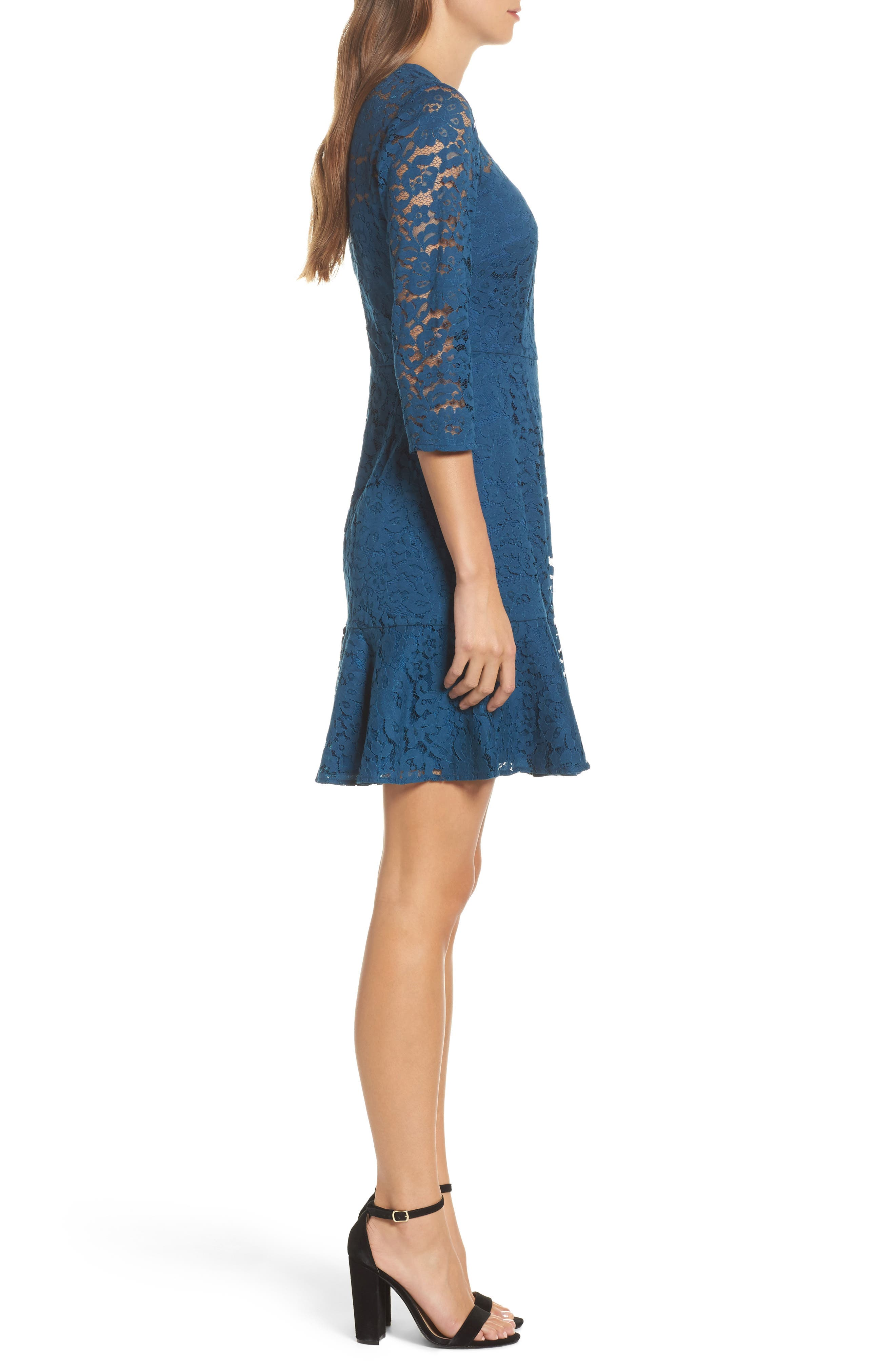 Stanley Lace Fit & Flare Dress,                             Alternate thumbnail 3, color,                             412