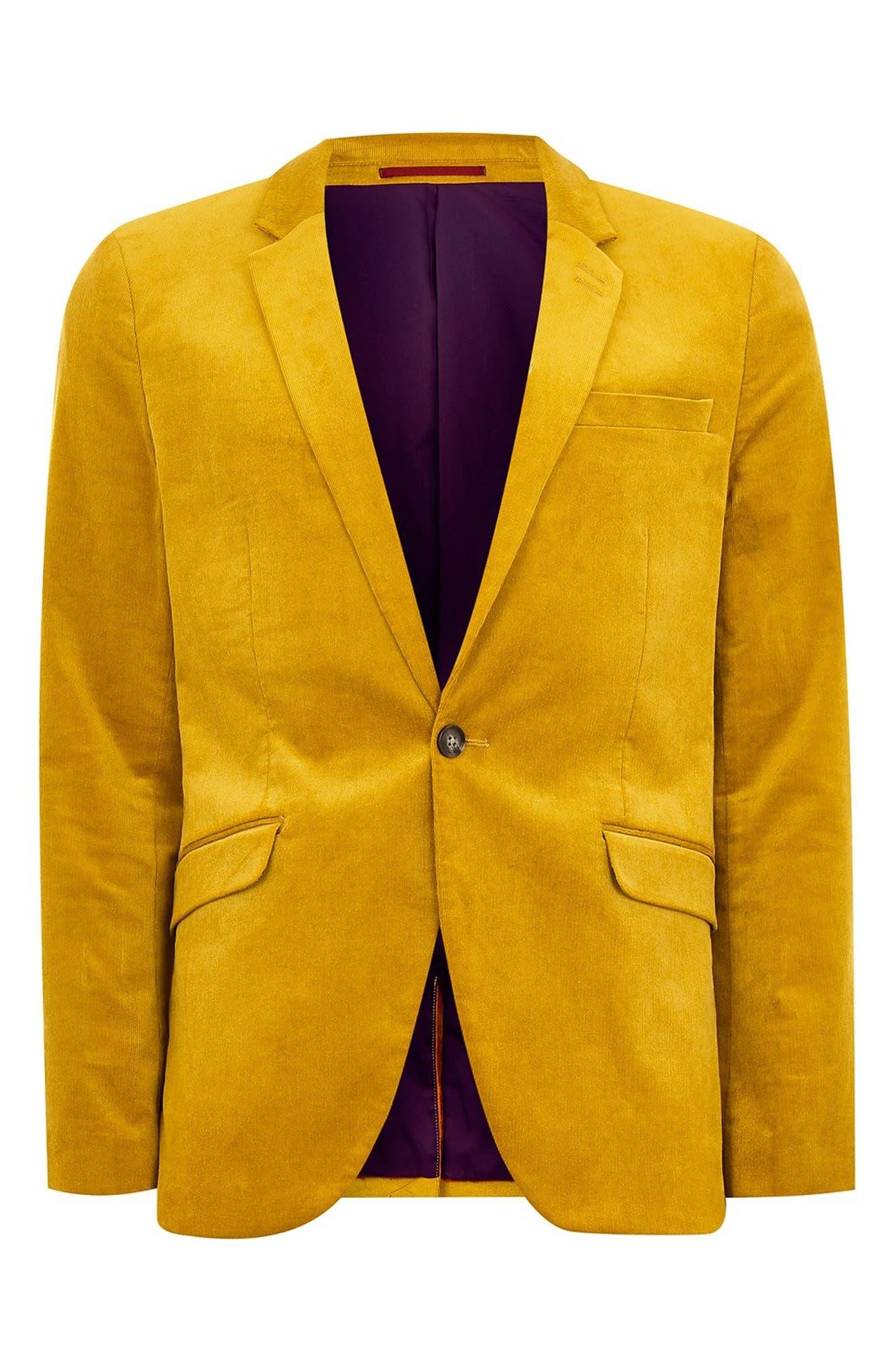 TOPMAN,                             Corduroy Super Skinny Suit Jacket,                             Alternate thumbnail 4, color,                             700