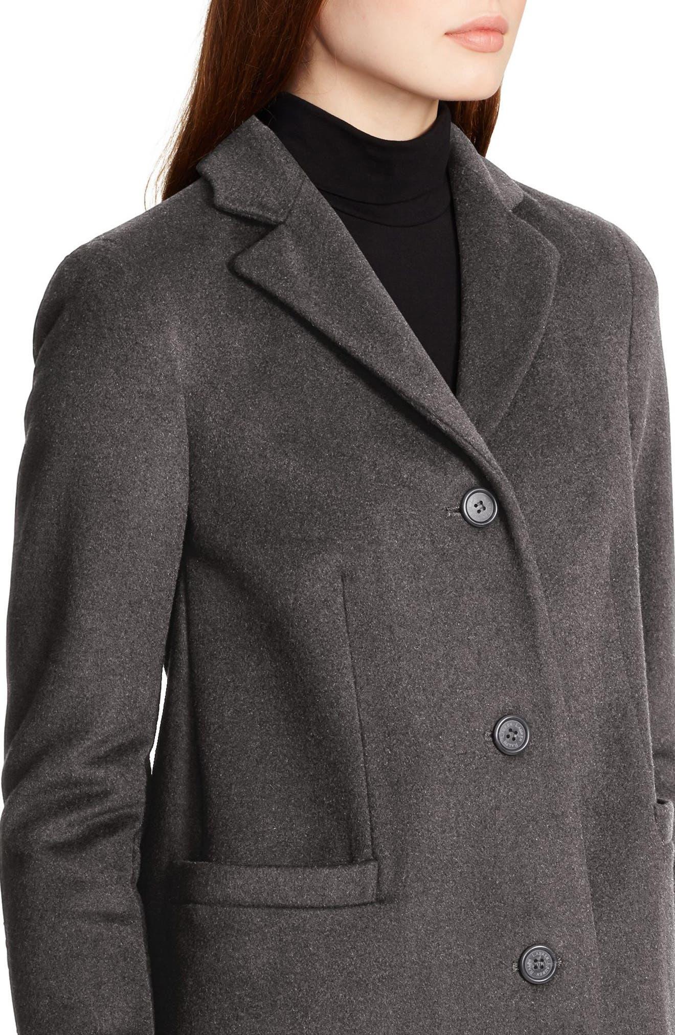 Wool Blend Reefer Coat,                             Alternate thumbnail 3, color,                             ALASKAN GREY