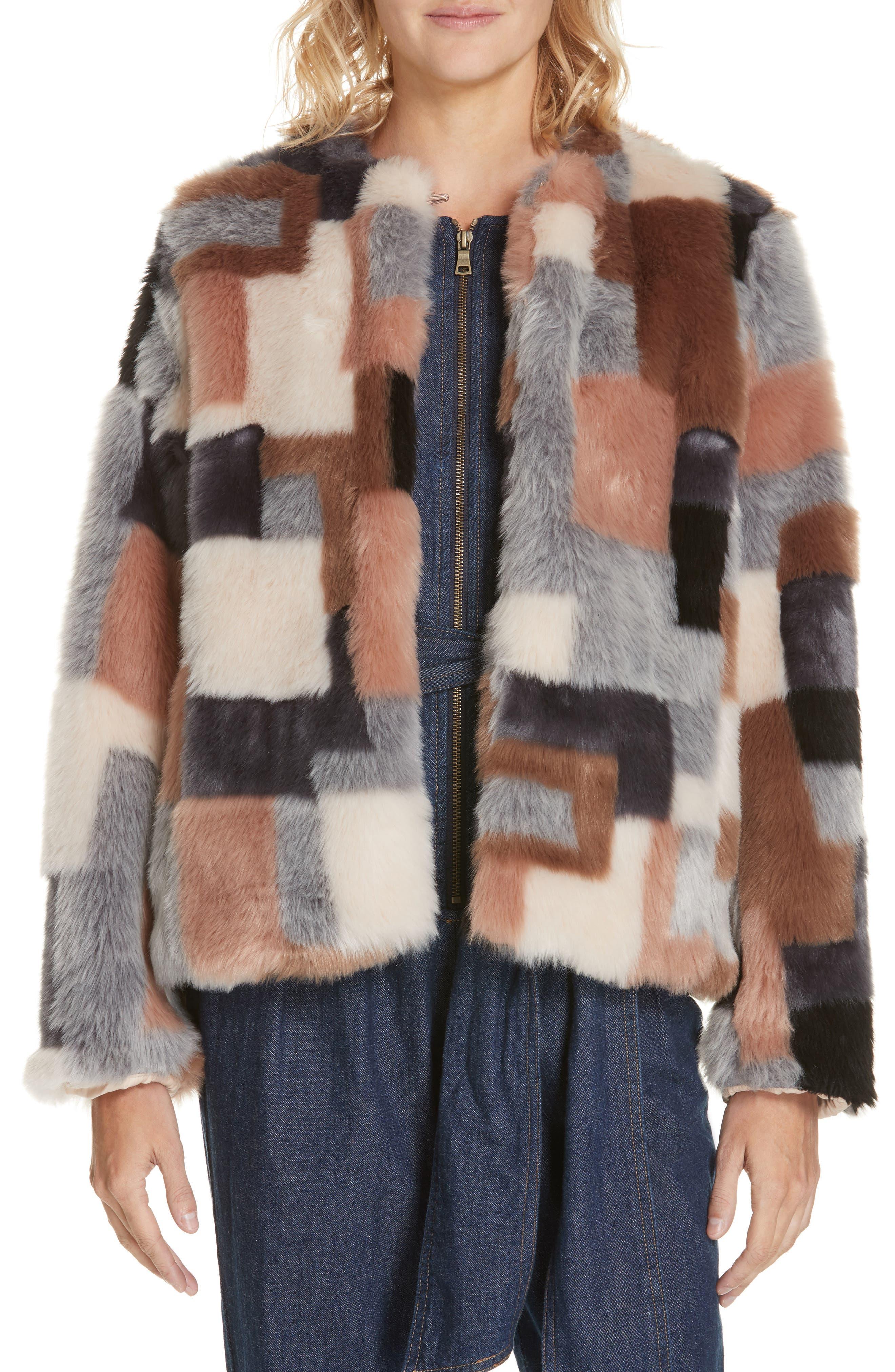 LA VIE REBECCA TAYLOR Patched Faux Fur Jacket, Main, color, 400