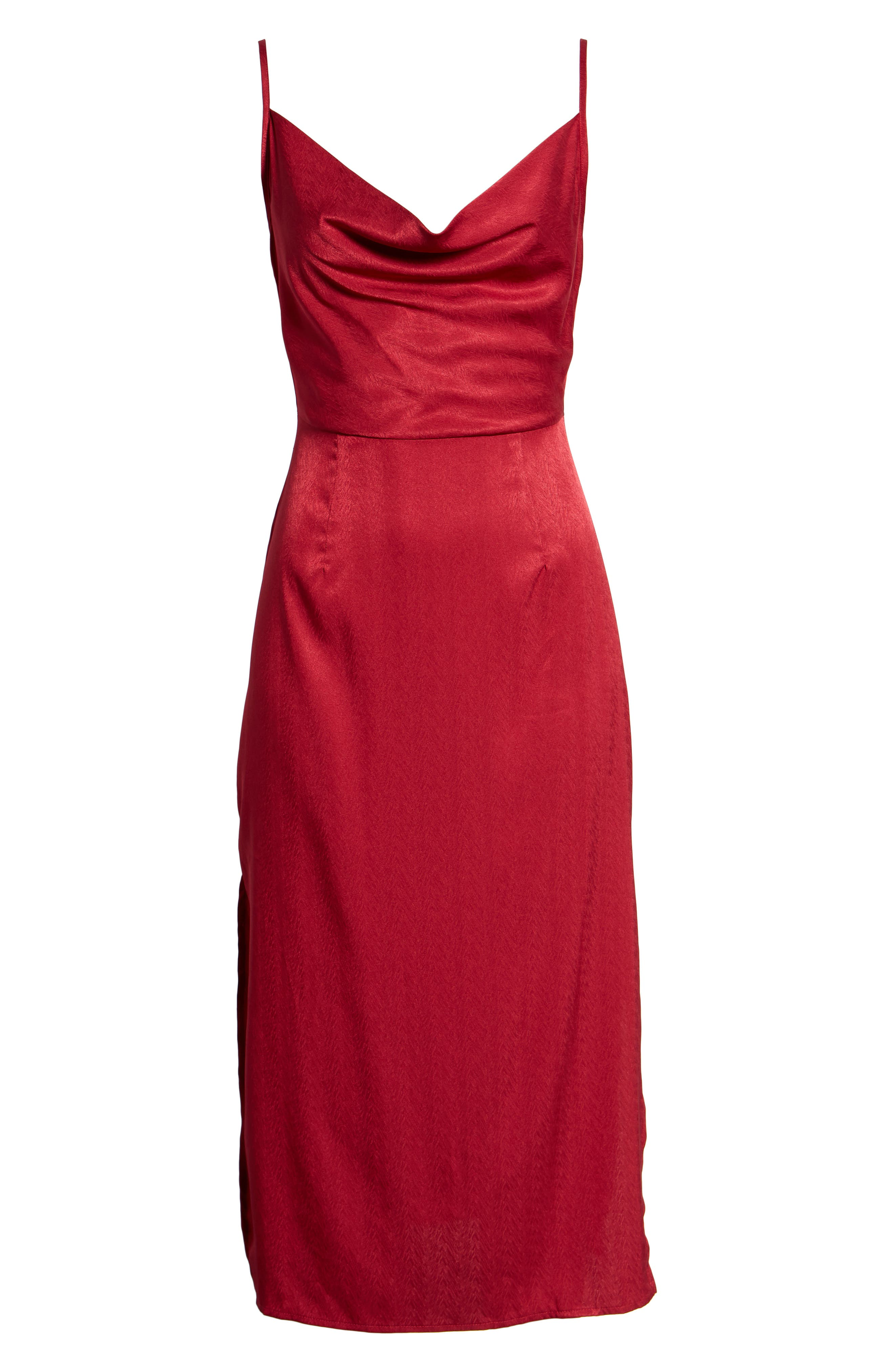 Lotti Cowl Neck Midi Dress,                             Alternate thumbnail 7, color,                             CHERRY