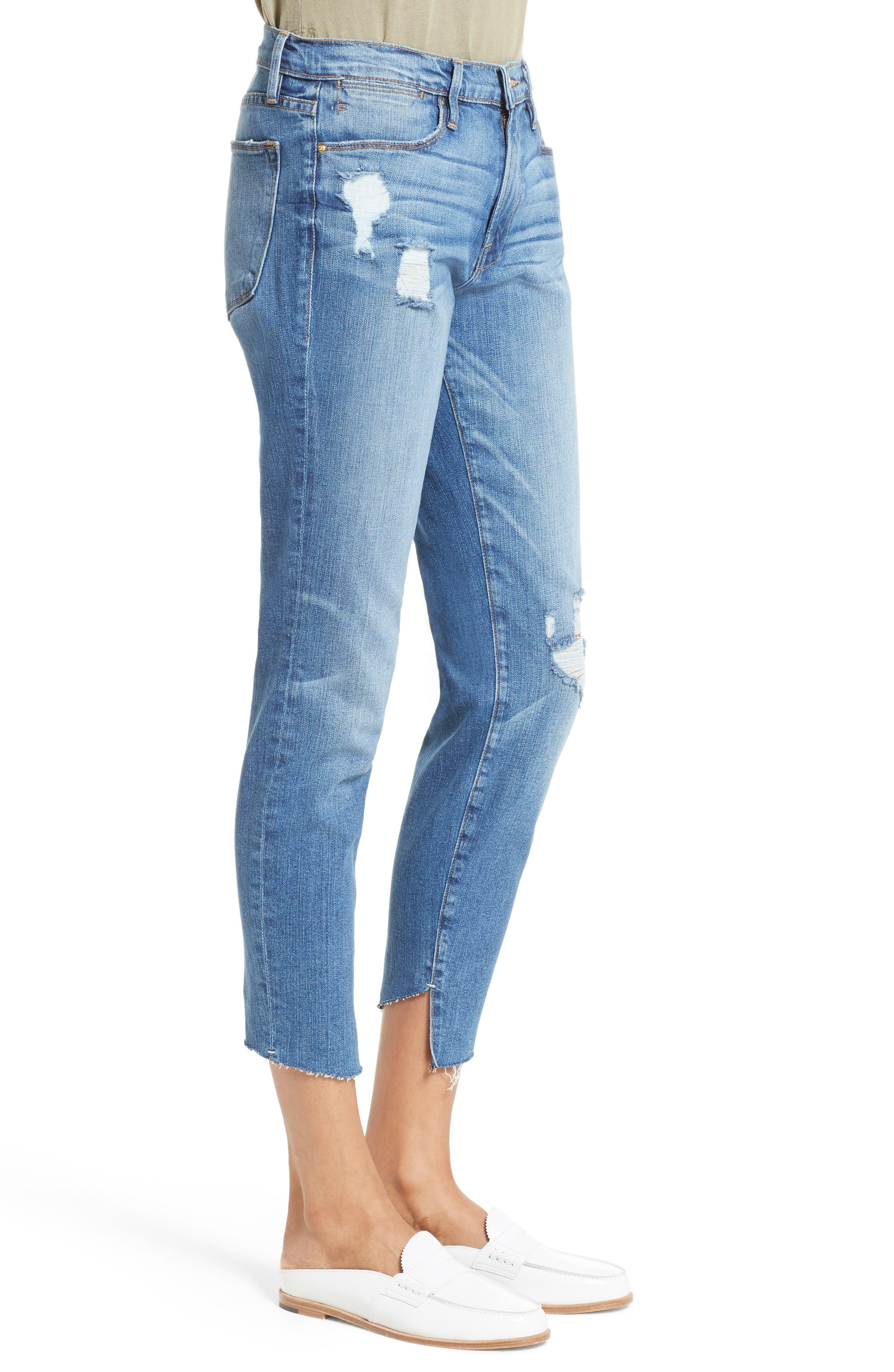 Le High Skinny Cascade Hem Jeans,                             Alternate thumbnail 3, color,                             420